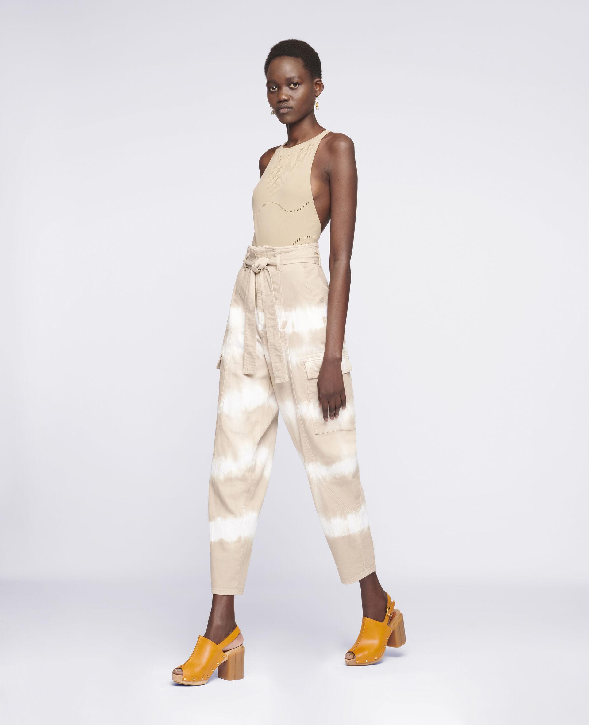 Tie-Dye Denim Trousers-Beige-large image number 1