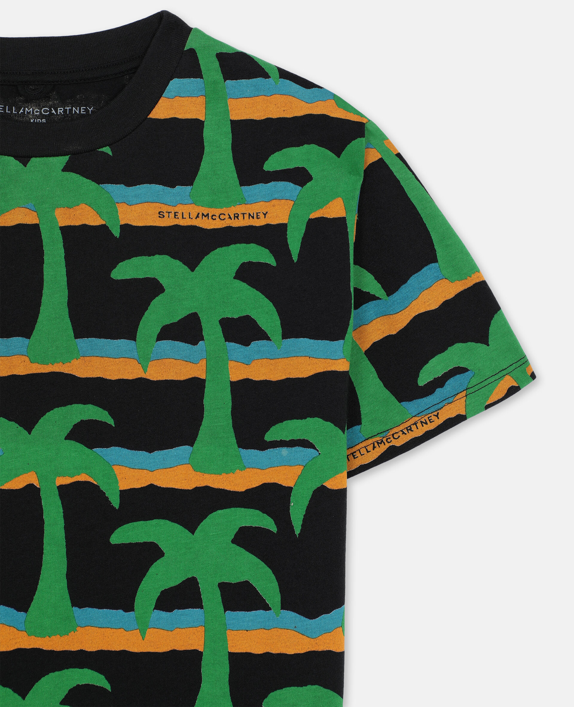 T-Shirt Oversize in Cotone con Palme -Nero-large image number 1