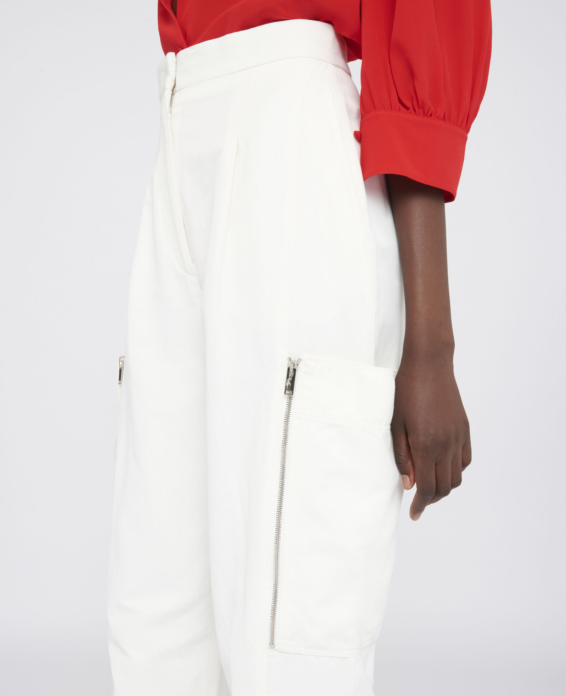 Karla Compact Cotton Pants-White-large image number 3