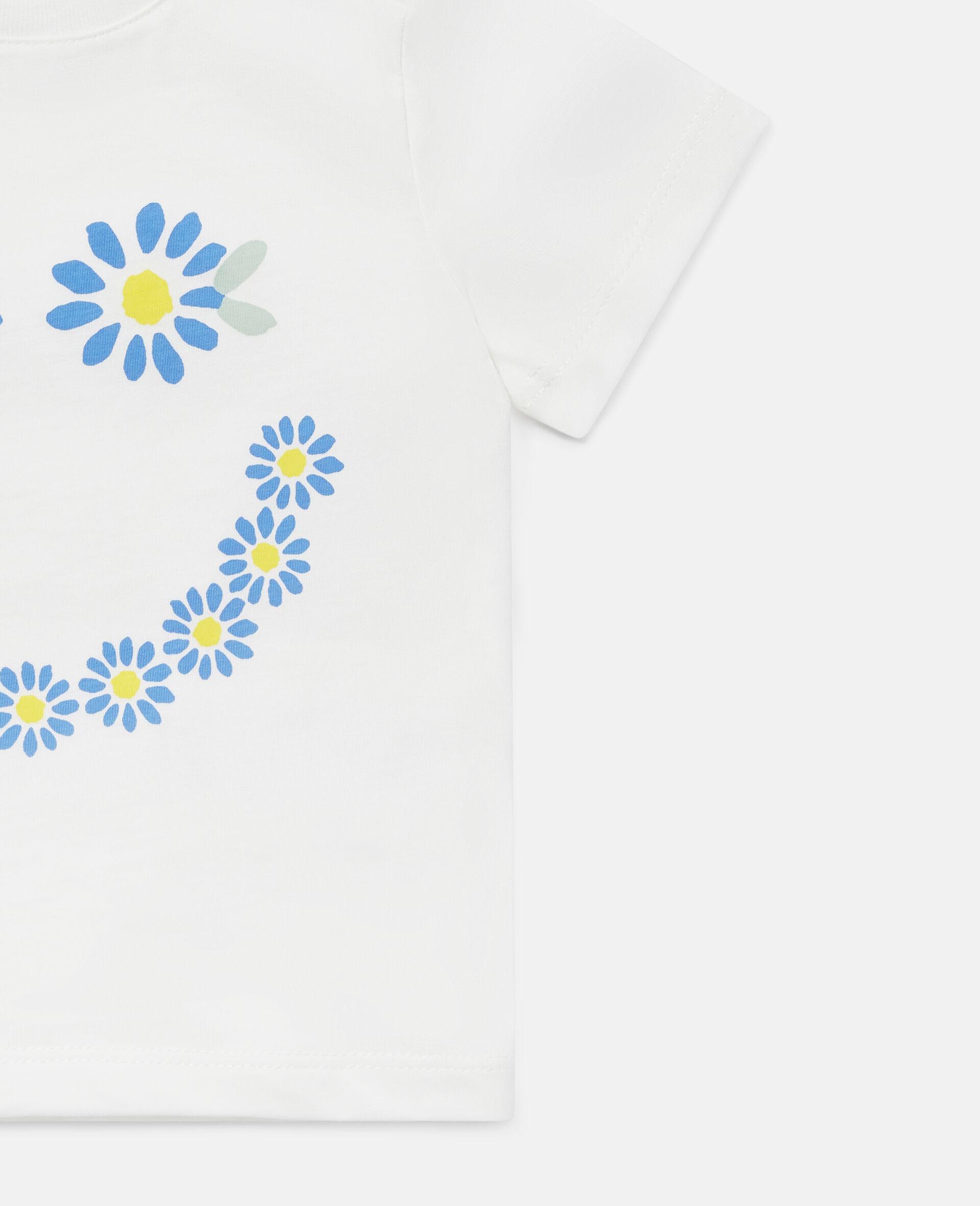 Baumwoll-T-Shirt mit Gänseblümchensmiley-Weiß-large image number 1