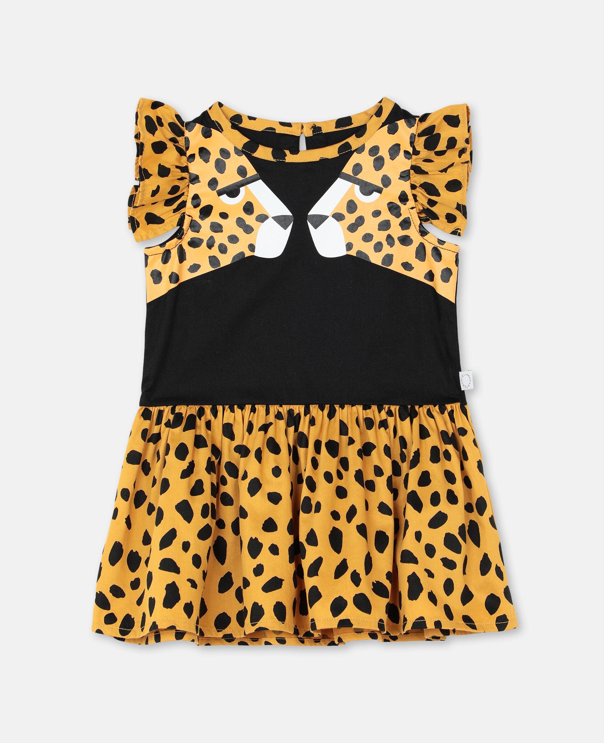 Baumwollkleid mit Geparden-Print-Schwarz-large image number 0