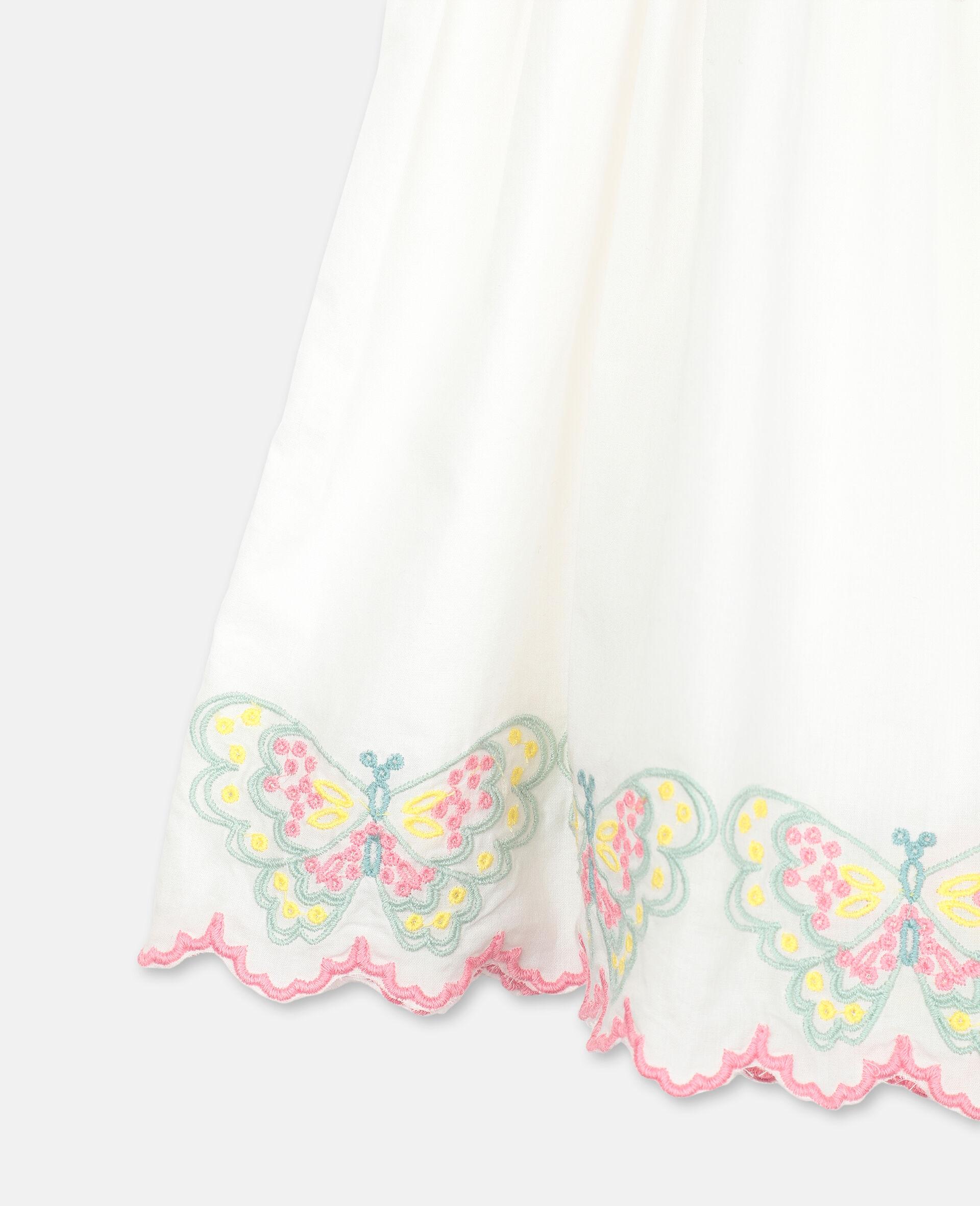 Vestito in Cotone con Farfalle Ricamate-Bianco-large image number 2