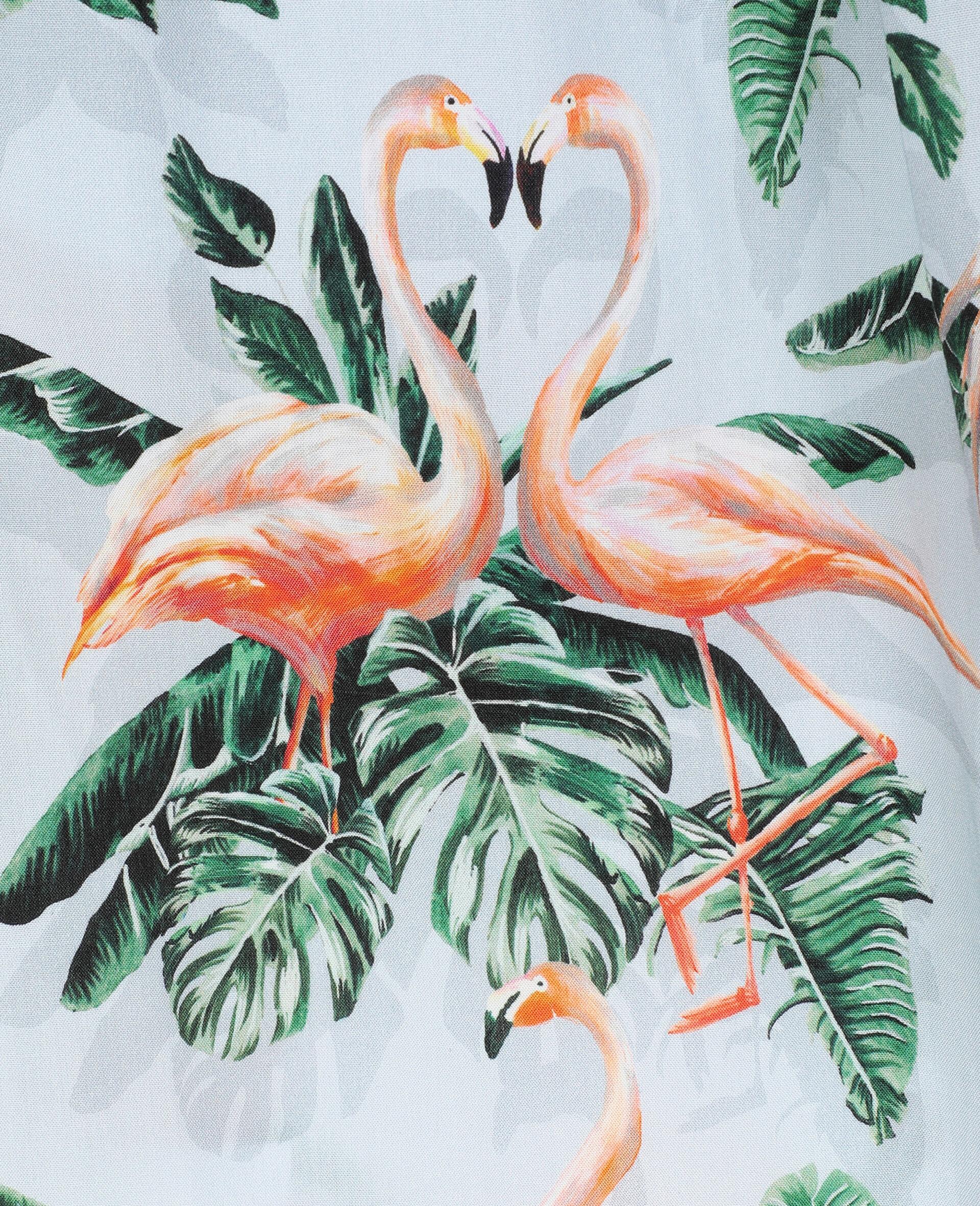 Viskosekleid mit malerischem Flamingo-Print-Grün-large image number 1