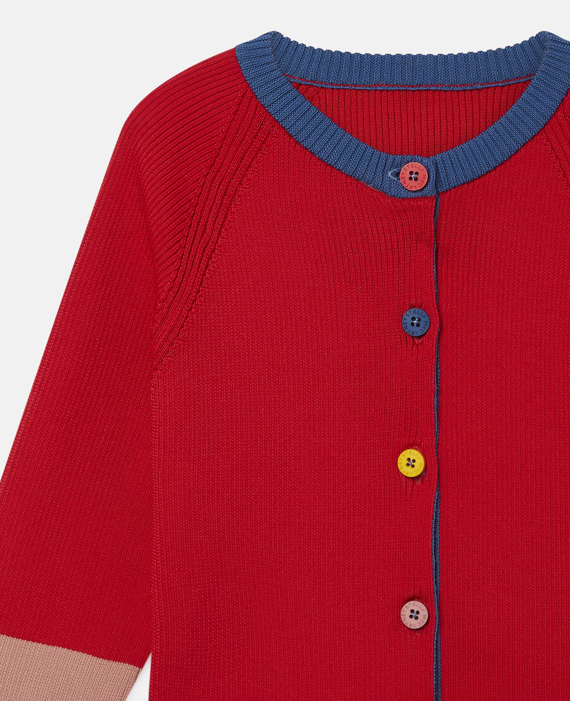 Cardigan en maille côtelée motif colourblock  -Rouge-large image number 1