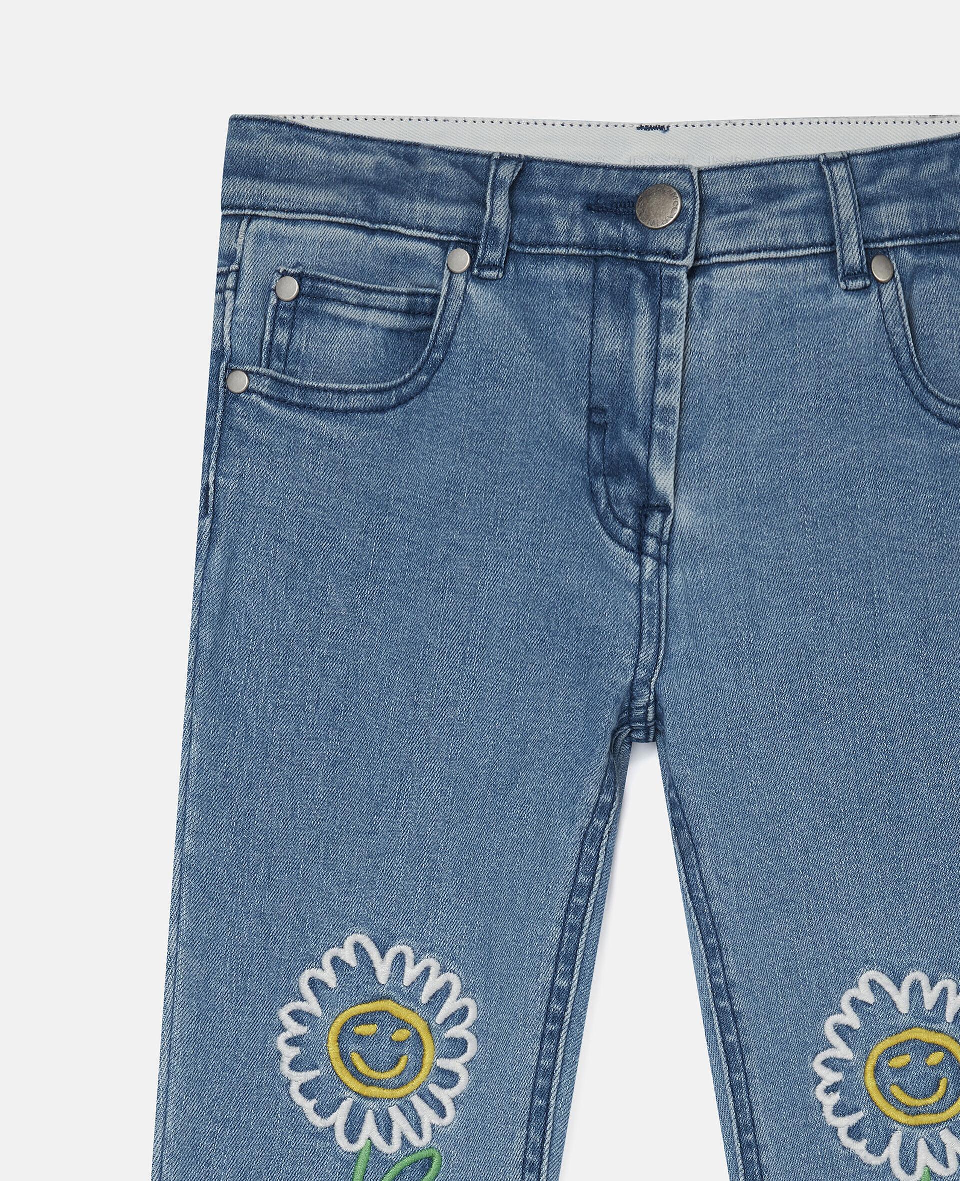 Embroidered Flowers Denim Pants-Blue-large image number 2