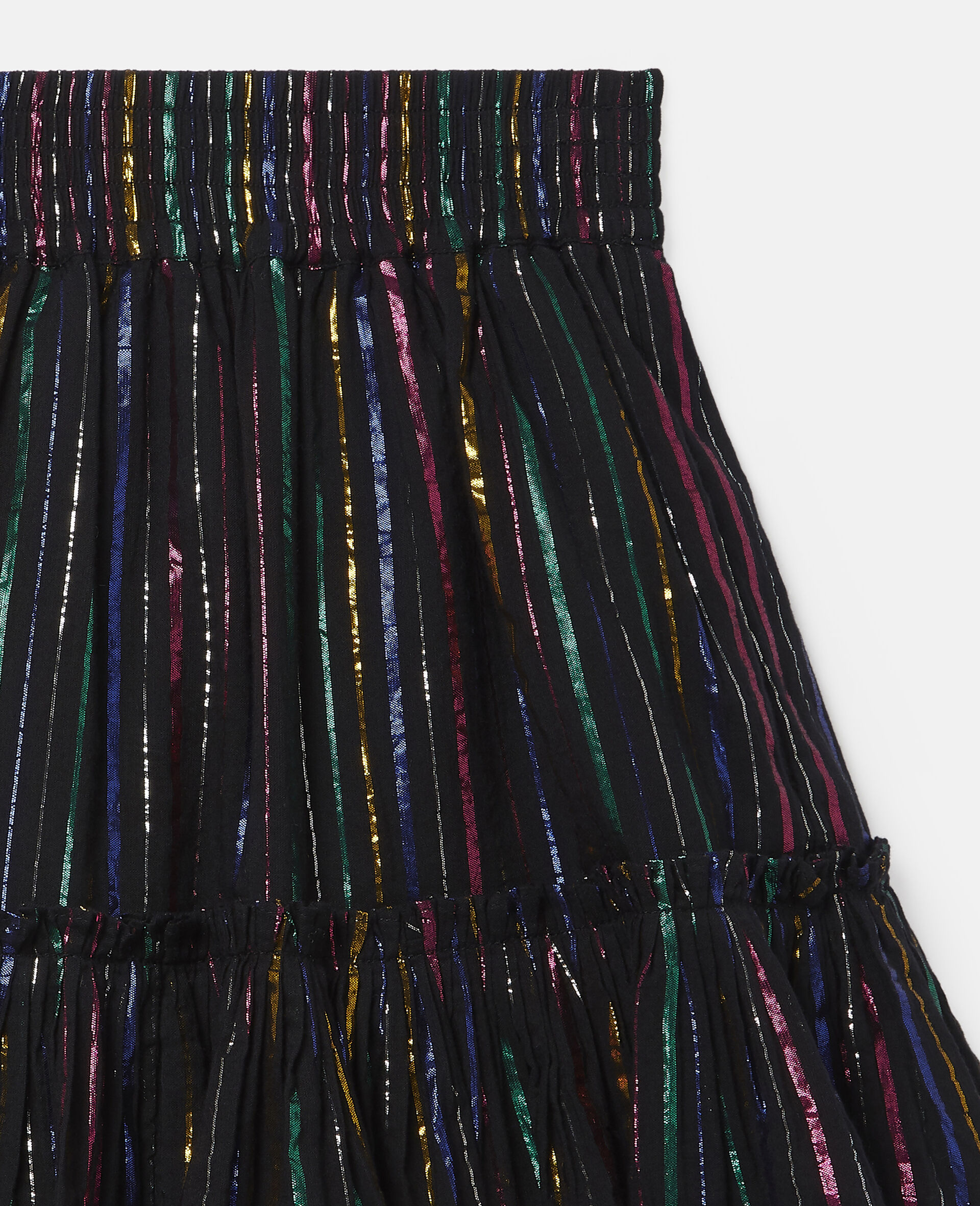 Rainbow Lurex Striped Cotton Skirt-Black-large image number 1