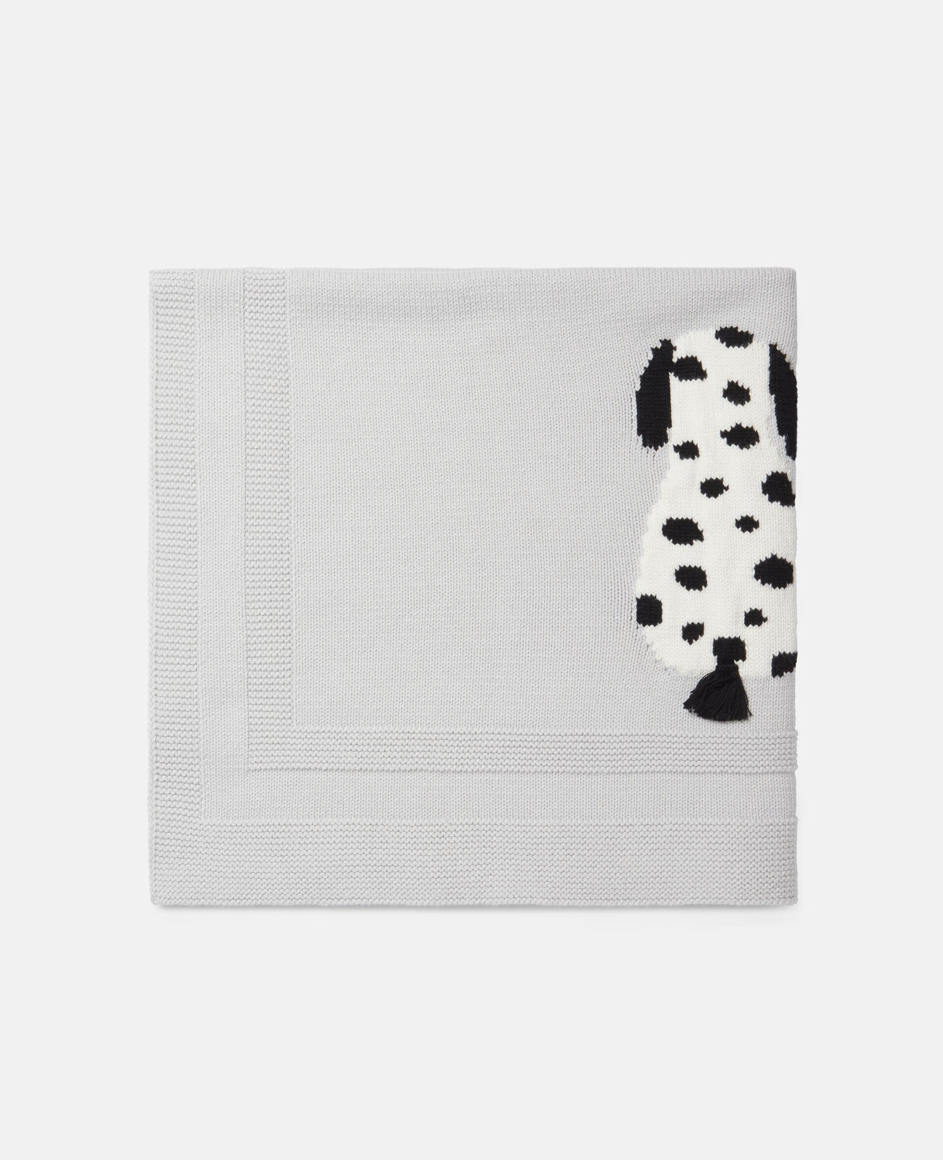 Dalmatian Knit Intarsia Blanket-Grey-large image number 0