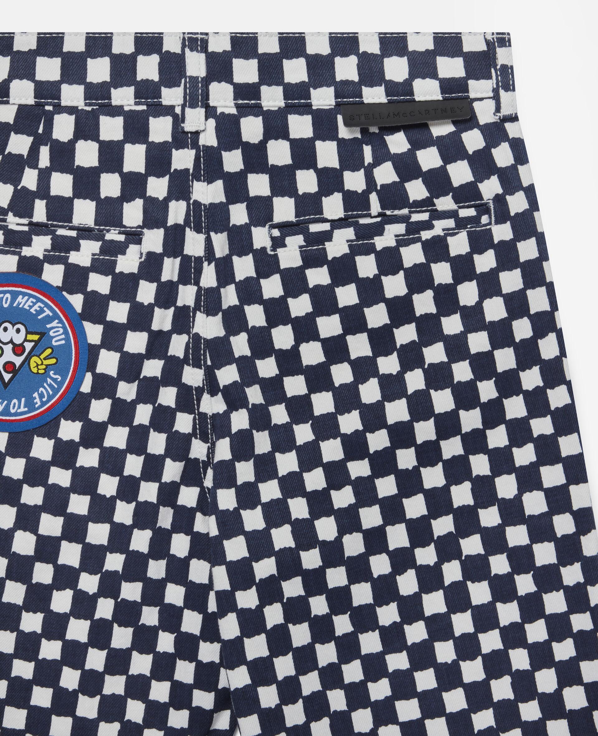 Checked Denim Shorts -Multicolour-large image number 2