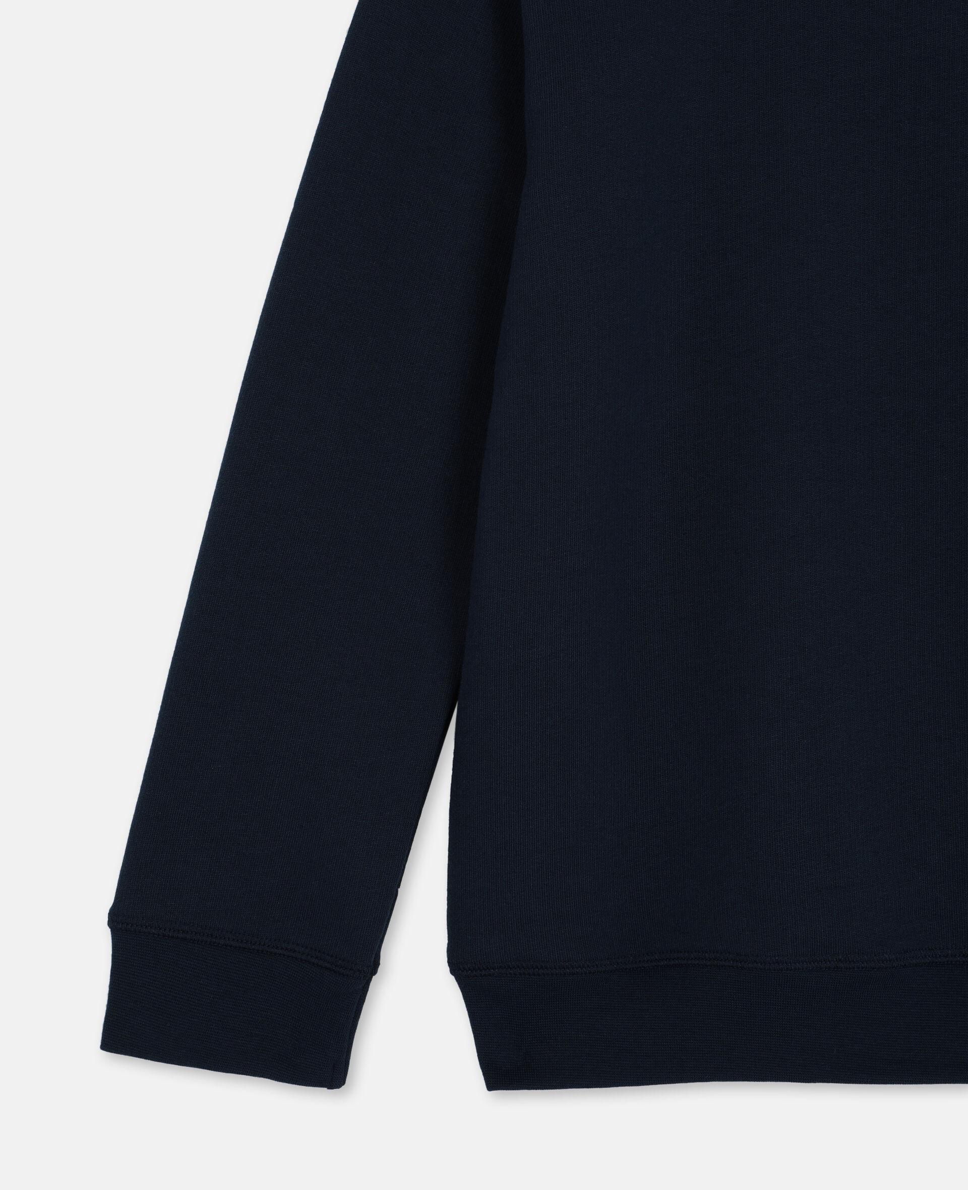 Sweat-shirt en molleton de coton oversize avec logo-Bleu-large image number 2