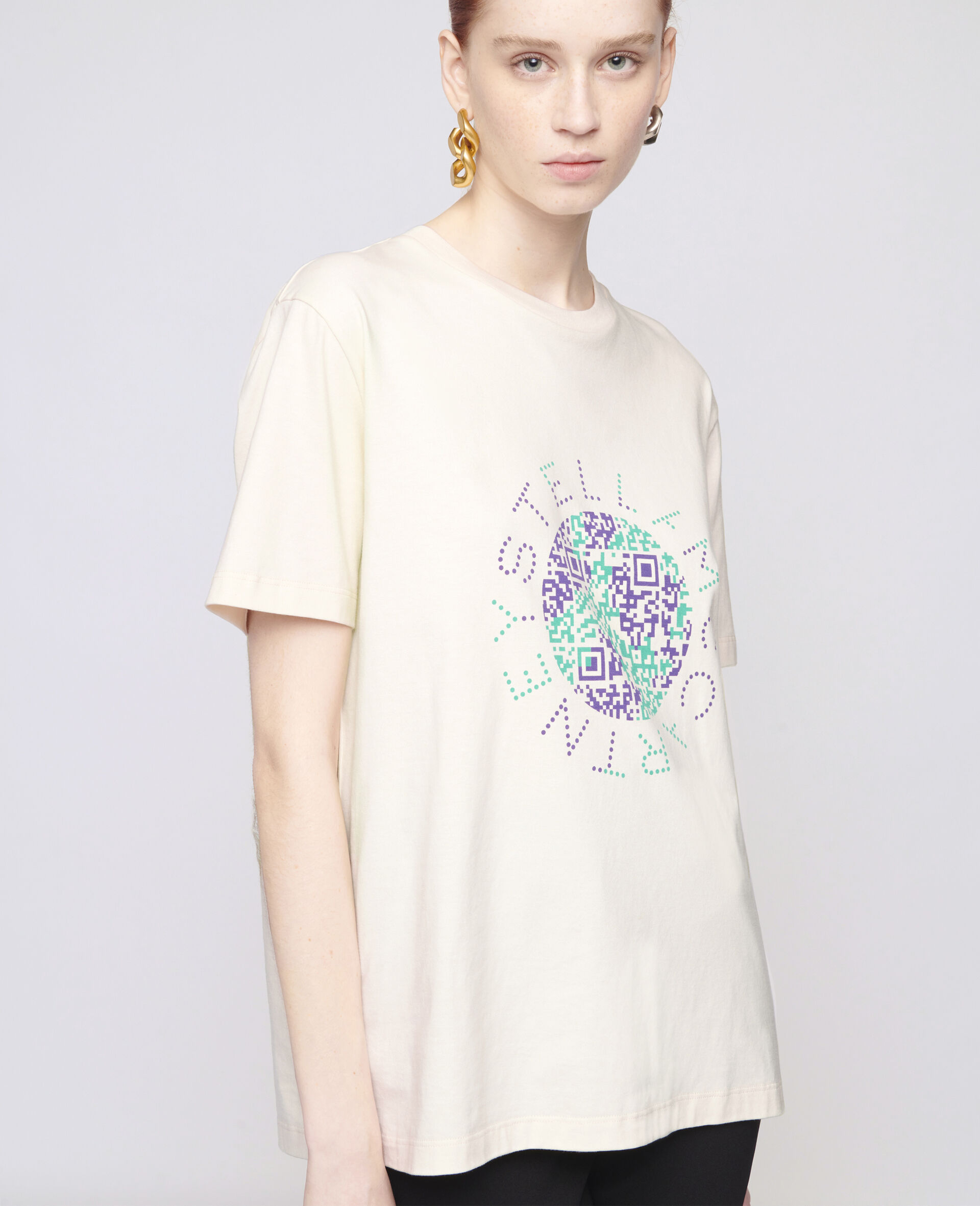 Earth Print Cotton T-Shirt-White-large image number 3