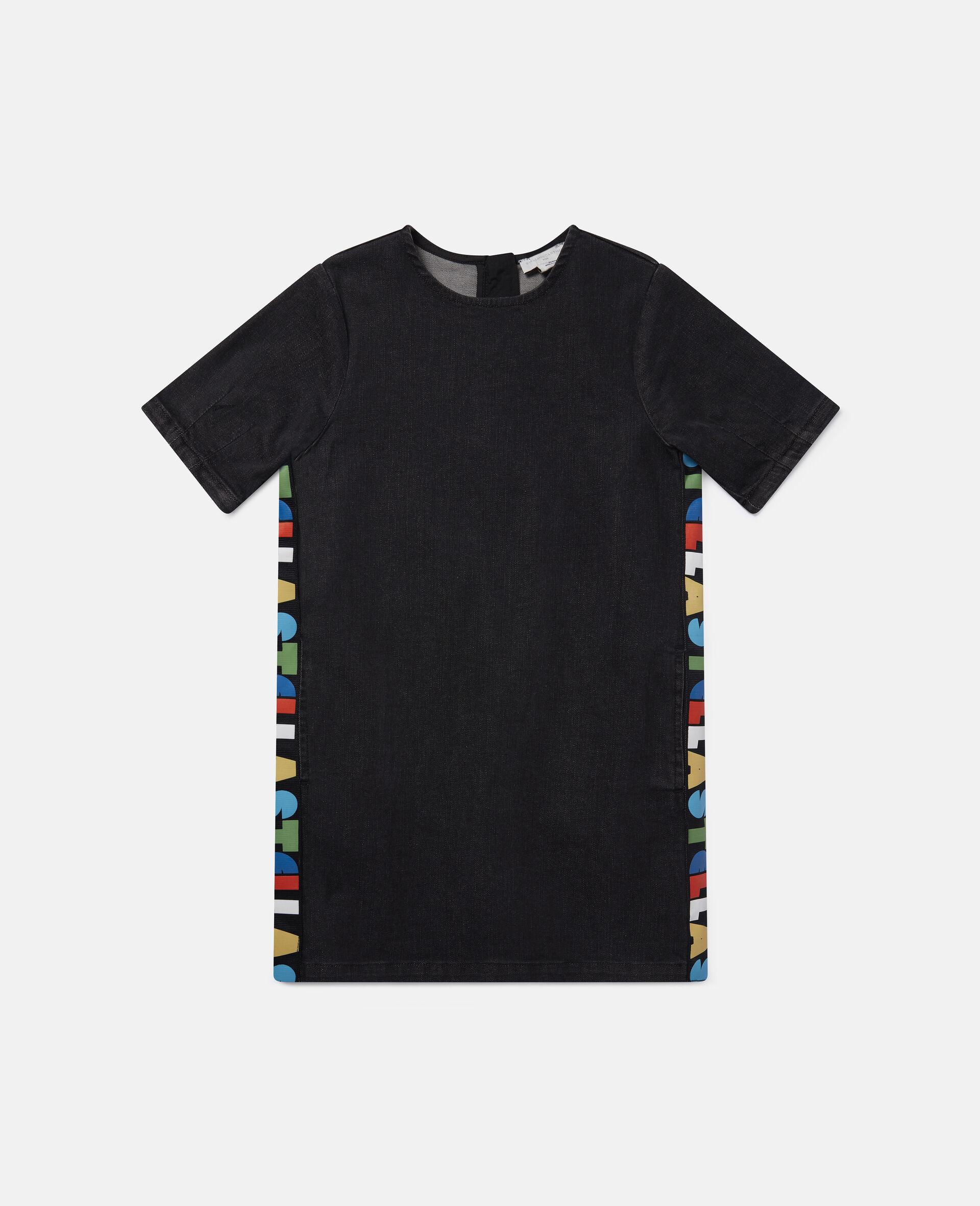 Logo Denim Dress-Black-large image number 0