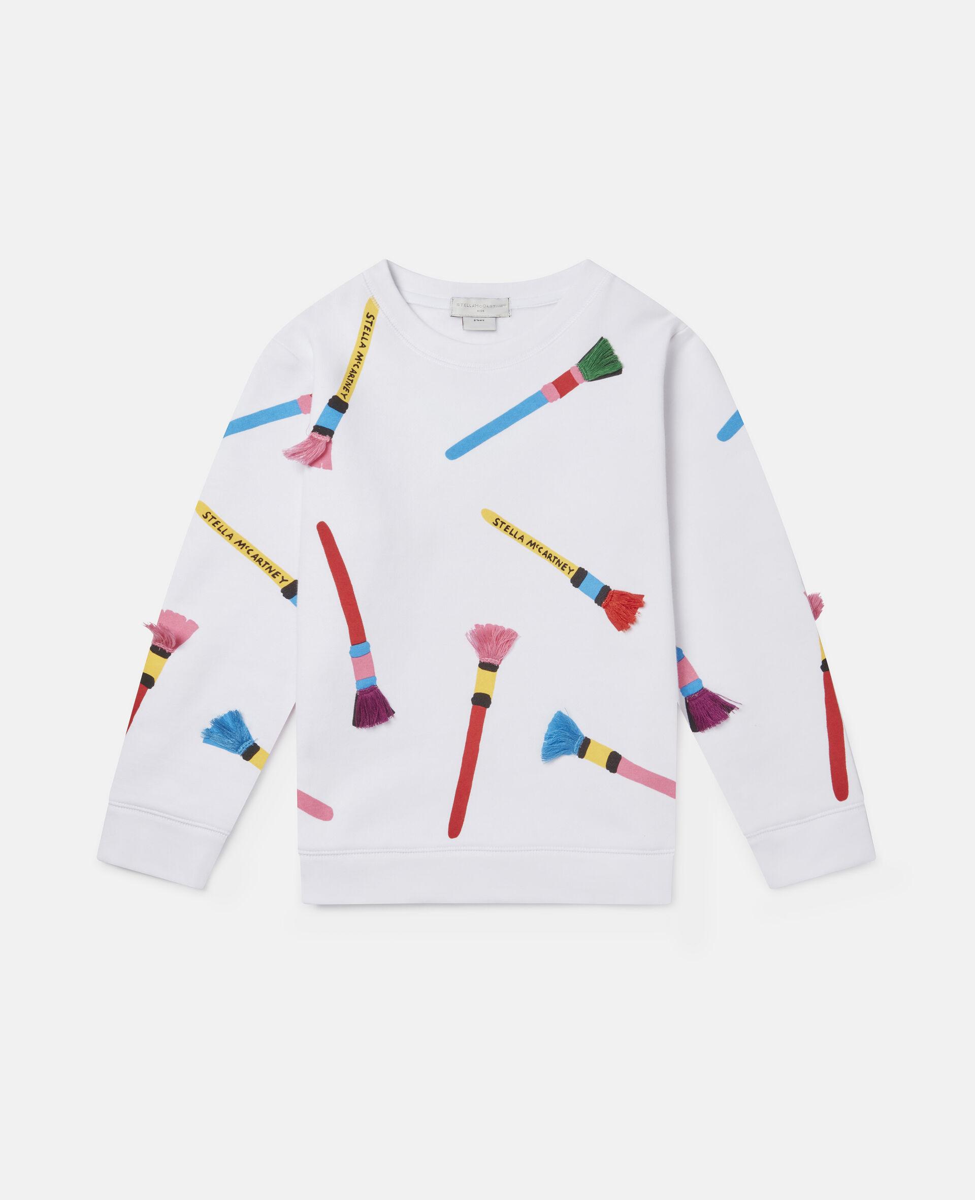 Sweatshirt aus Baumwollfleece mit Pinsel-Print -Weiß-large image number 0