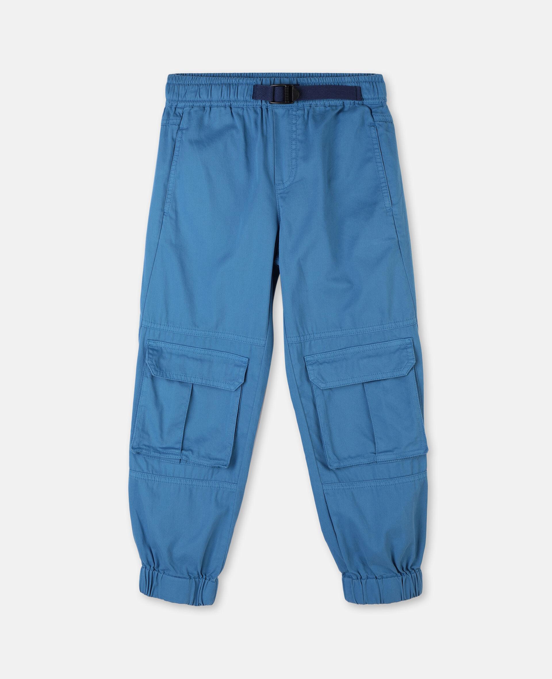 Pantalon cargo en sergé de coton -Bleu-large image number 0