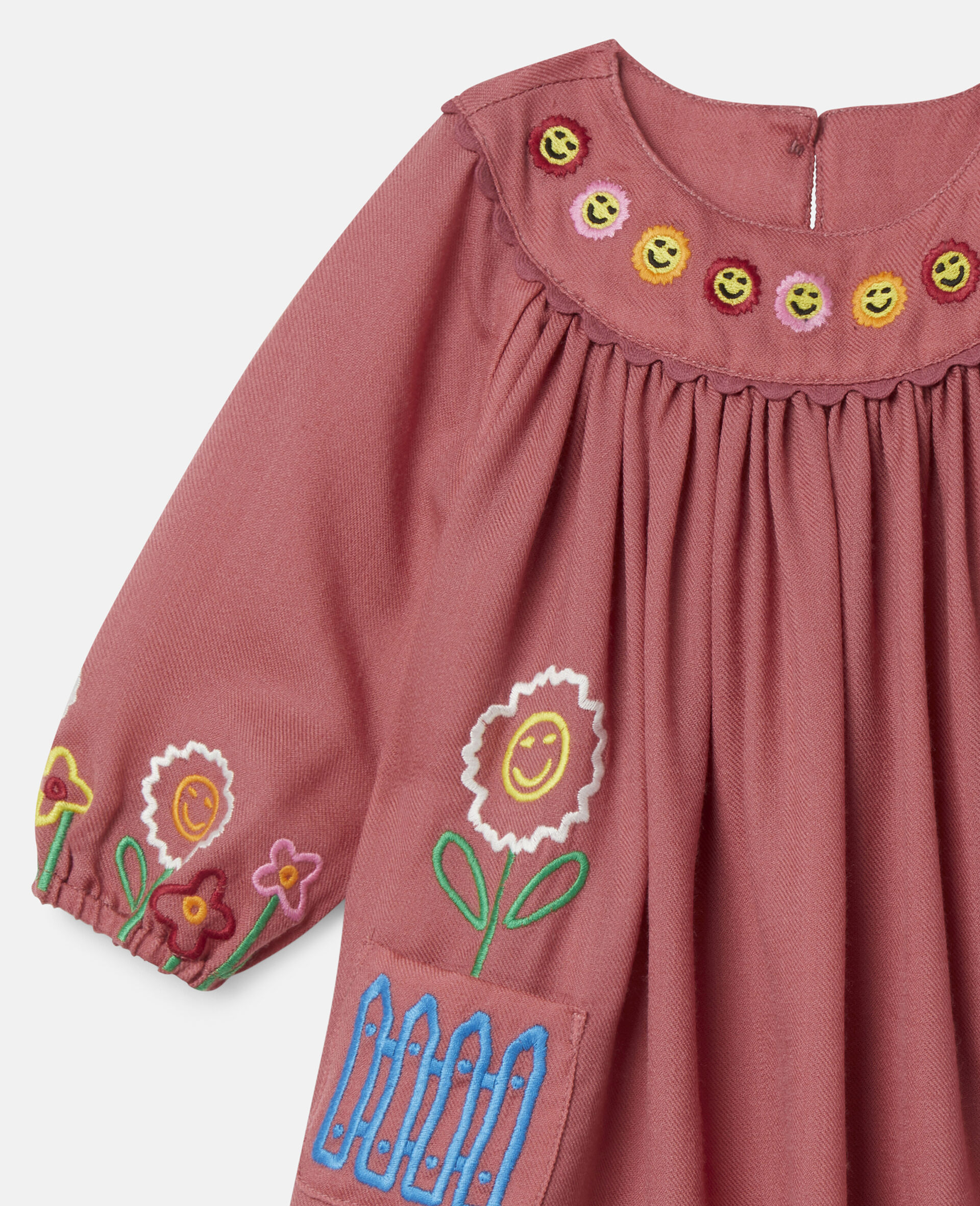 Embroidered Garden Wool Dress-Red-large image number 2