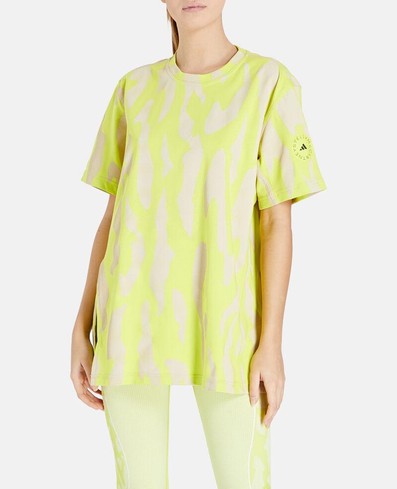 T-shirt gialla a maniche corte vestibilità ampia, taglio comodo, lunghezza regular, collo a coste,