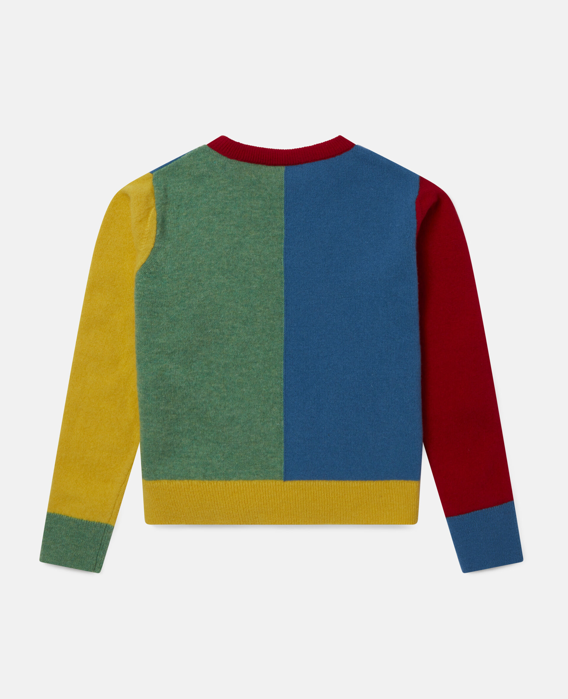 Colorblock Knit Intarsia Sweater -Multicolour-large image number 3
