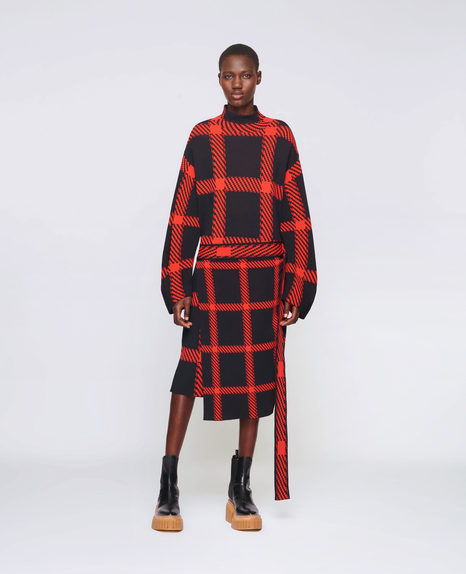 Knit Check Dress-Multicolour-large image number 1