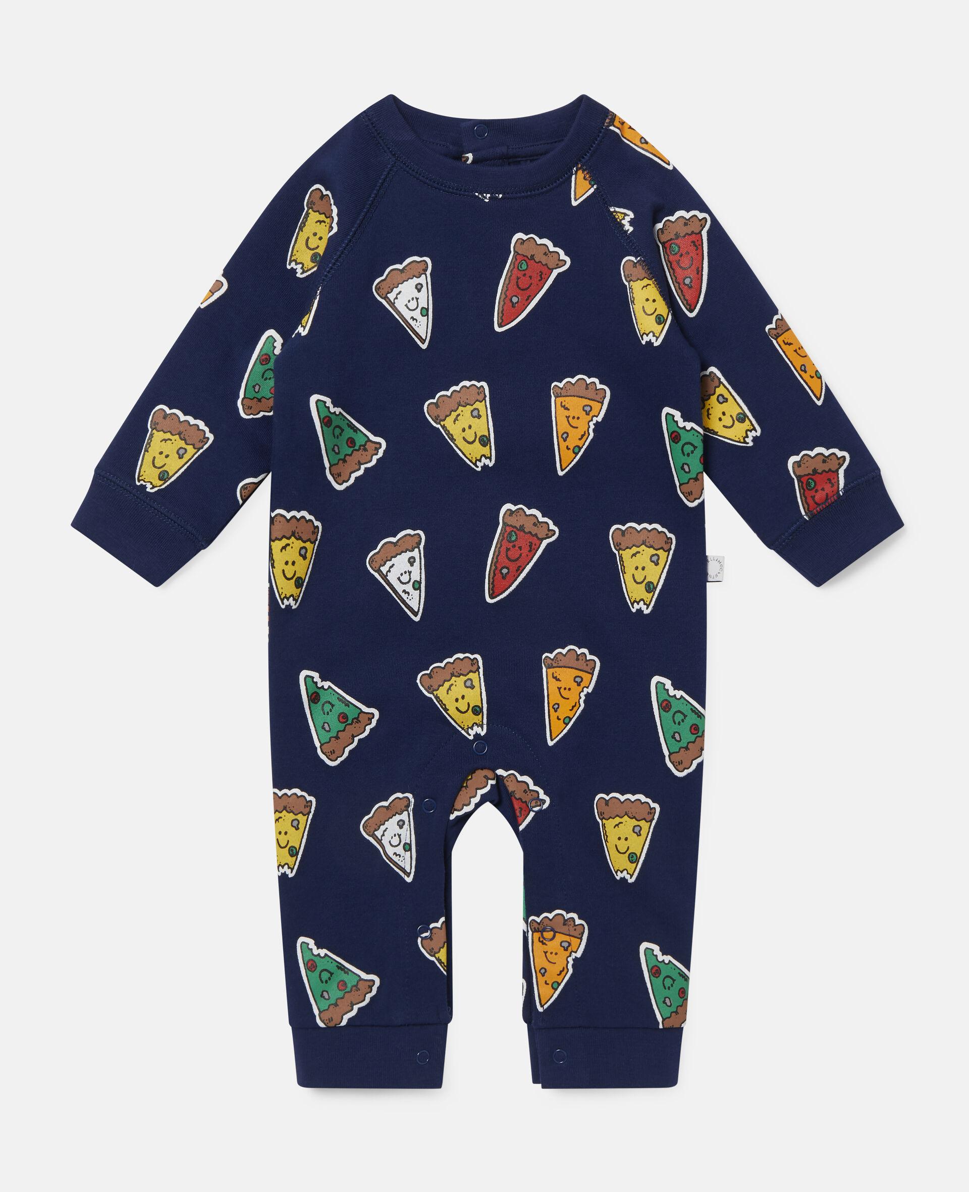 Combinaison en polaire motif pizza-Bleu-large image number 0