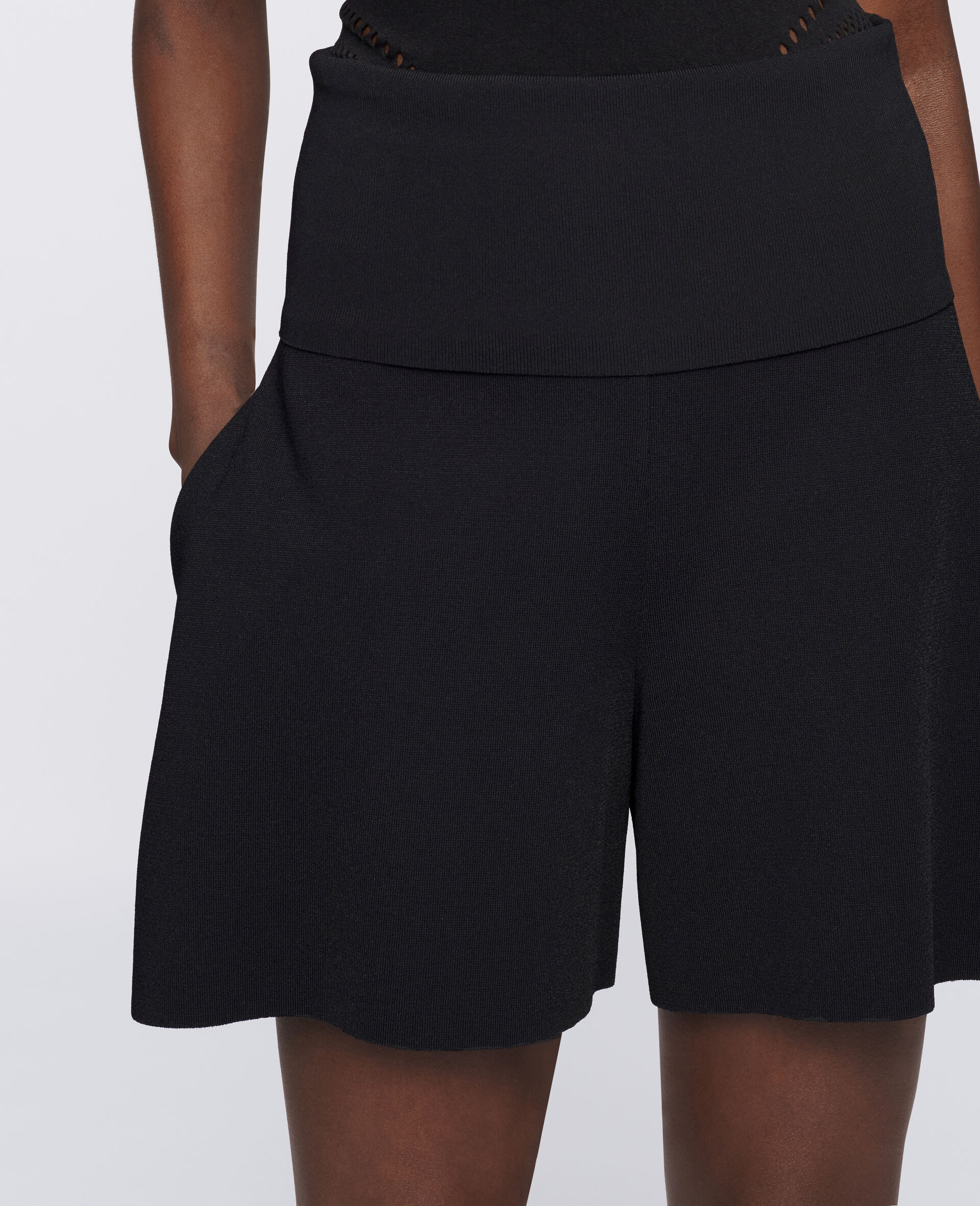 Compact Knit Shorts-Black-large image number 3