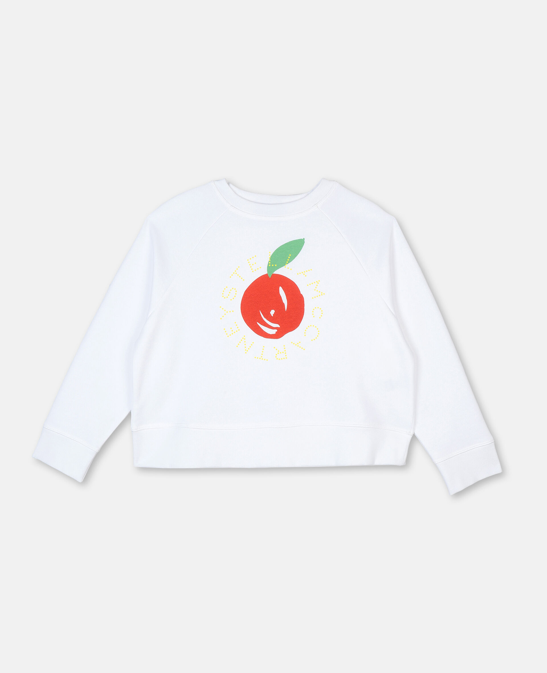 Felpa in Cotone con Logo Mandarino-Bianco-large image number 0