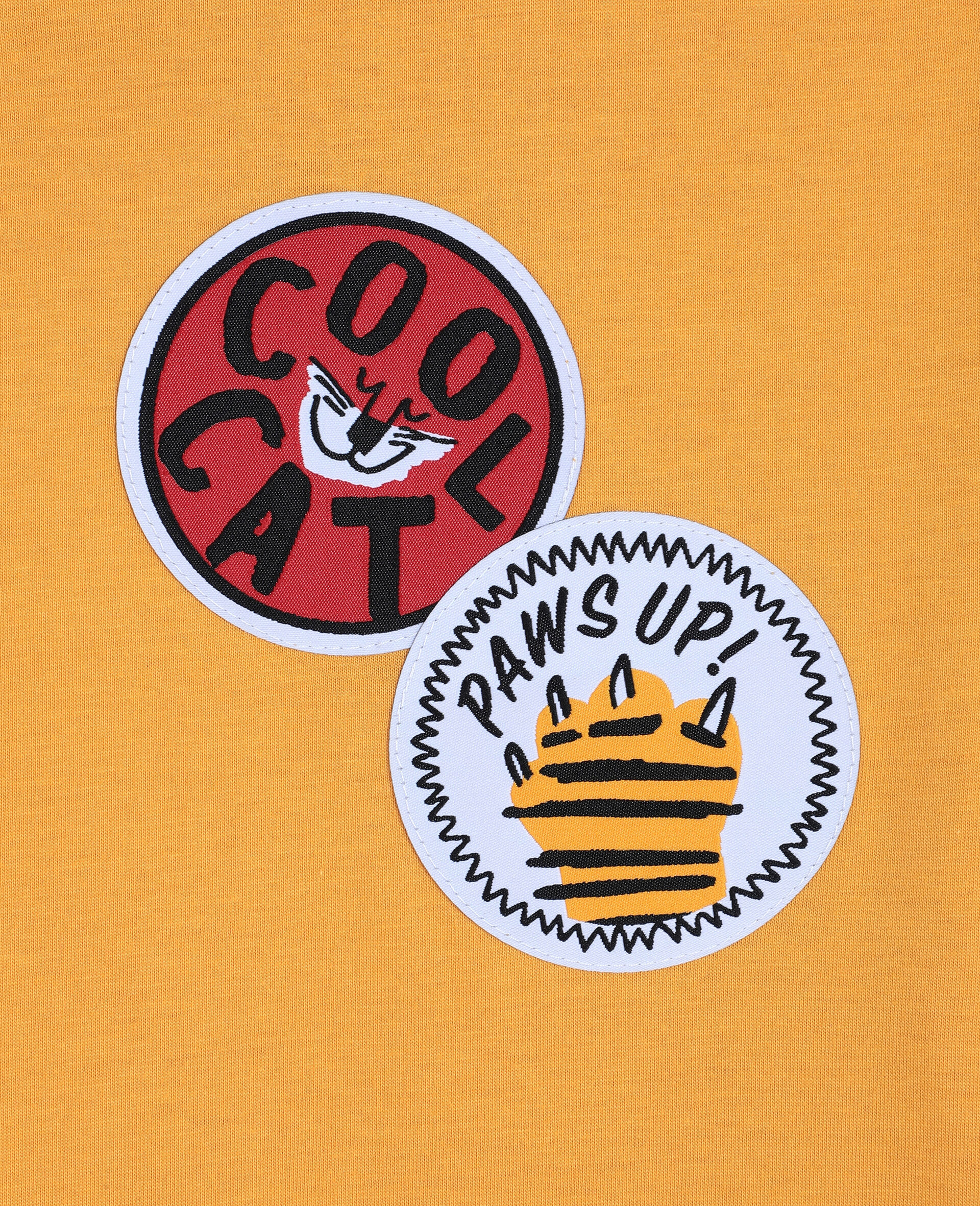 Oversize Cat Badges Cotton T-shirt -Orange-large image number 1