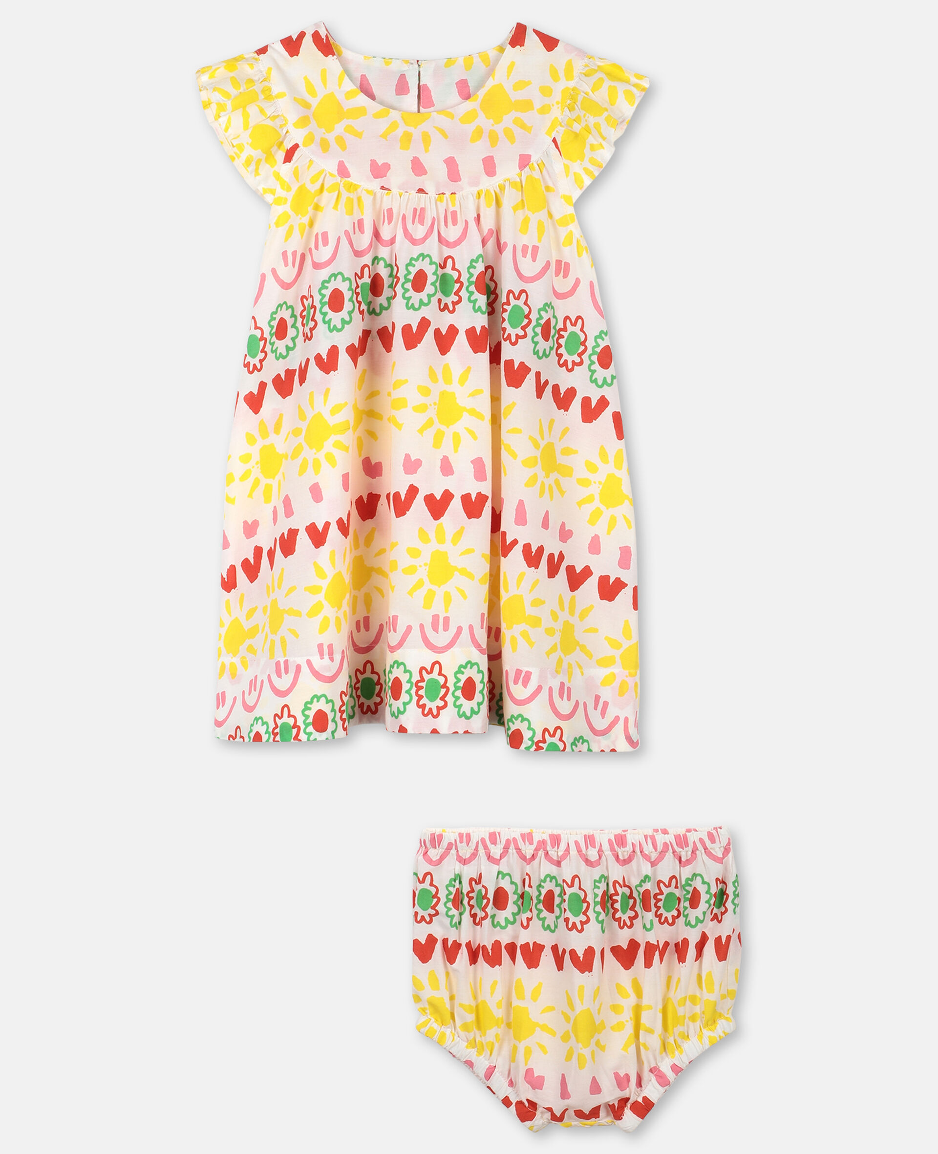 """Kleid aus Baumwolle mit """"Happy Stripes""""-Print-Gelb-large image number 0"""