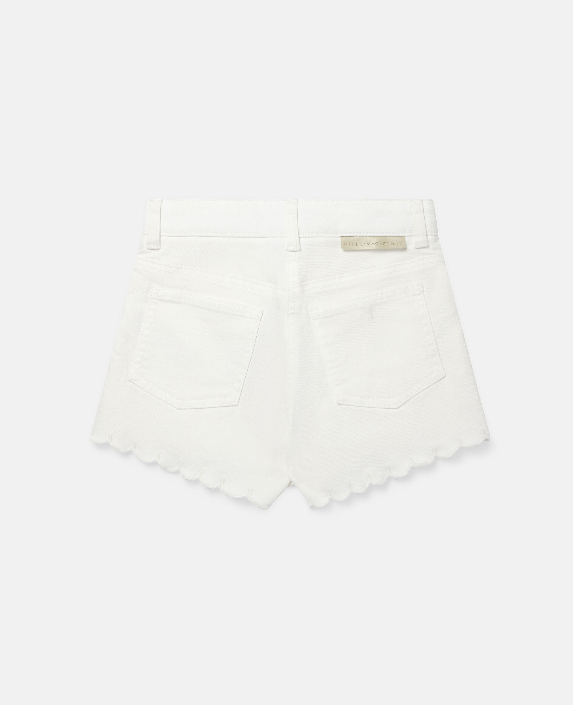 Embroidered Flowers Denim Shorts-White-large image number 3