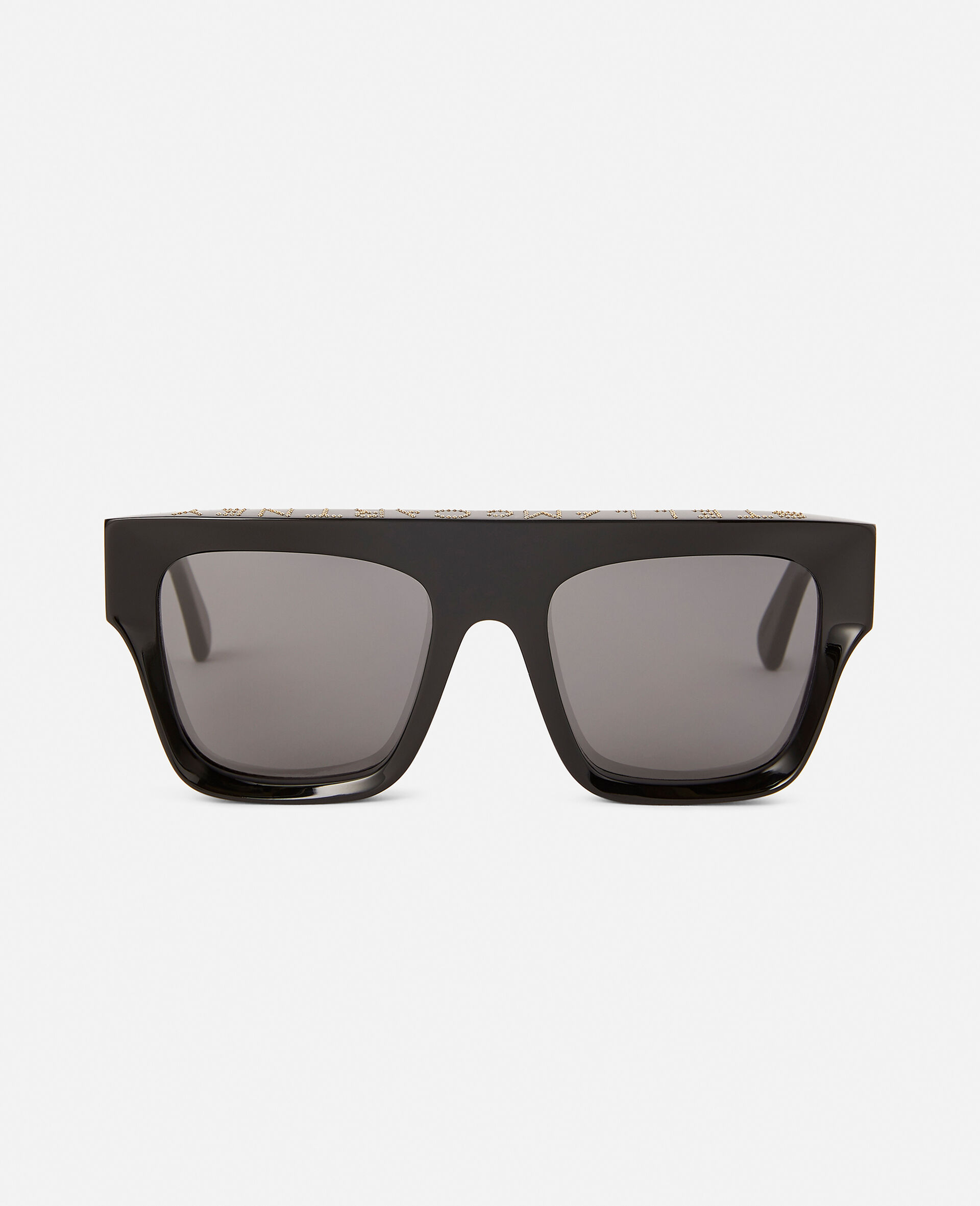 Shiny Black Square Sunglasses-Black-large image number 5