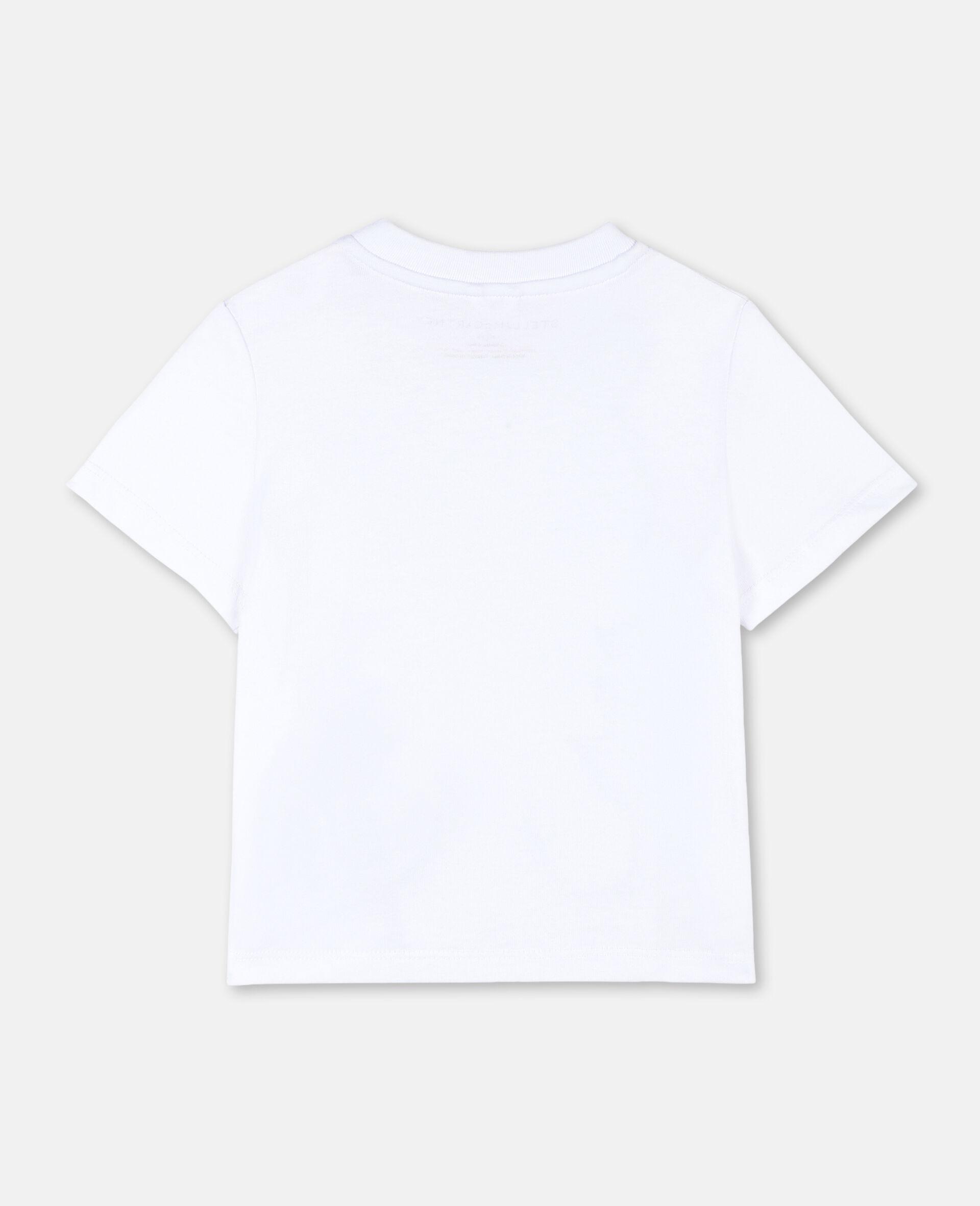 T-Shirt aus Baumwolle mit Postkarten-Print-Weiß-large image number 3