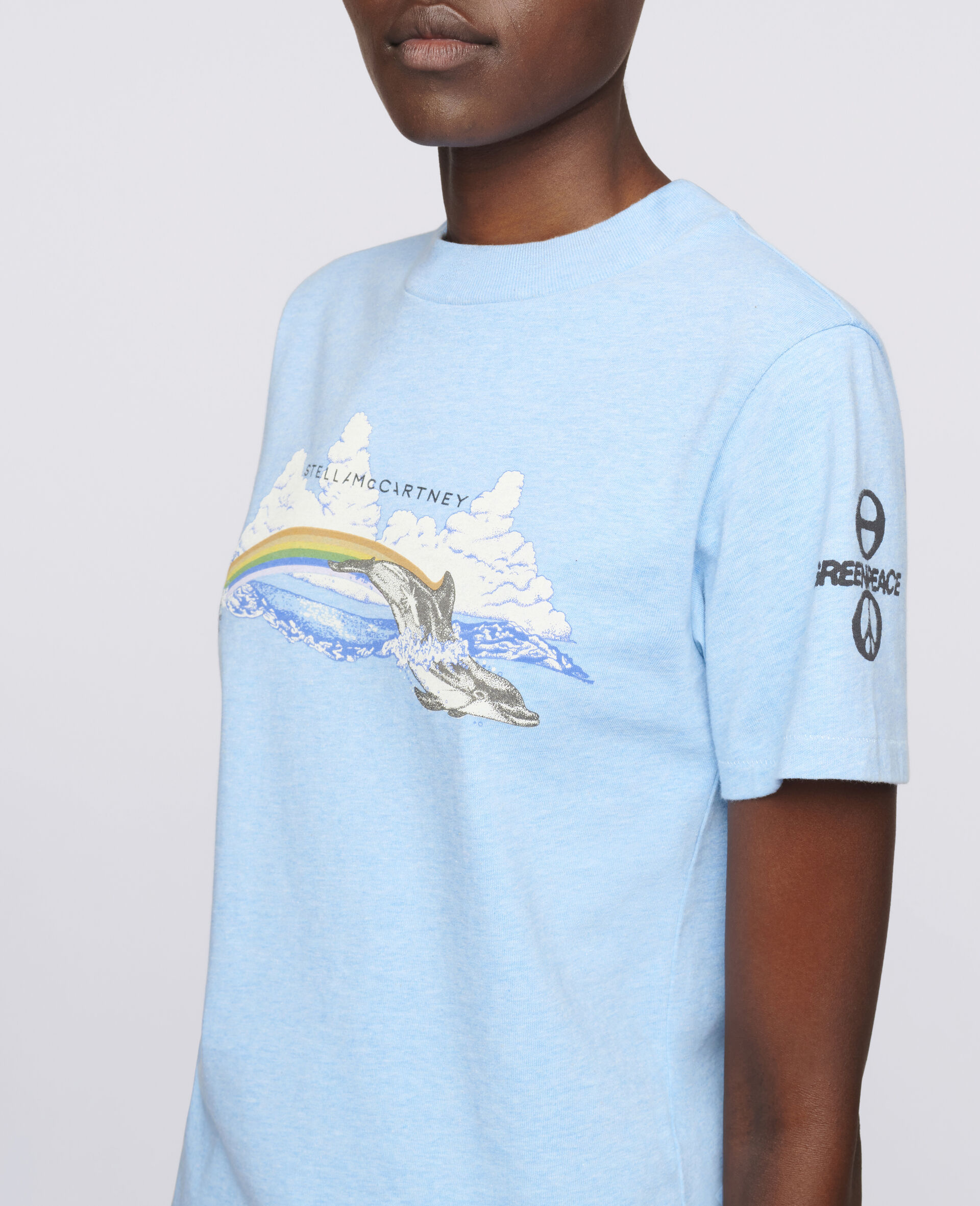 Rainbow Dolphin Cotton T-Shirt-Blue-large image number 3