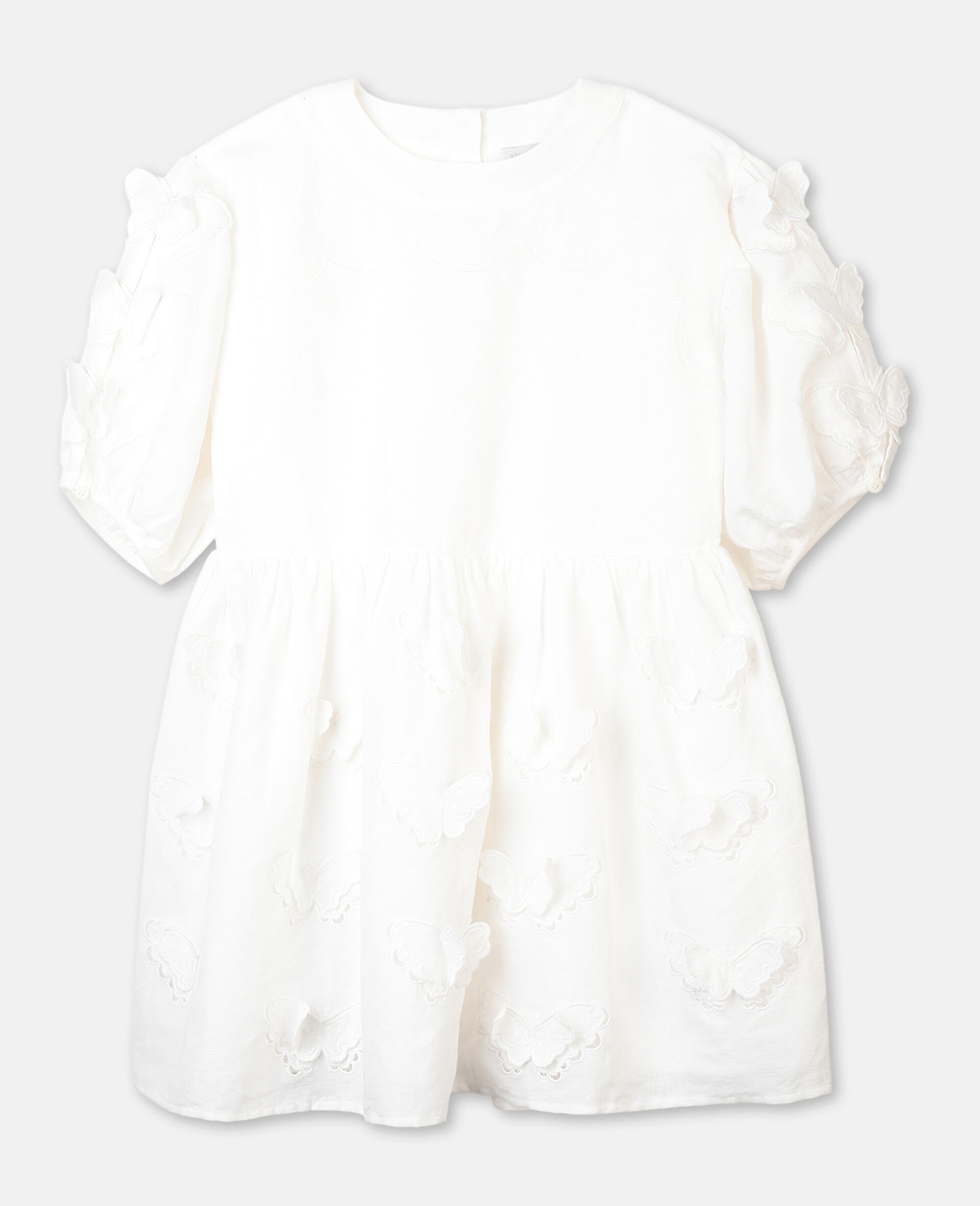 Embroidered Butterfly Dress-White-large image number 0