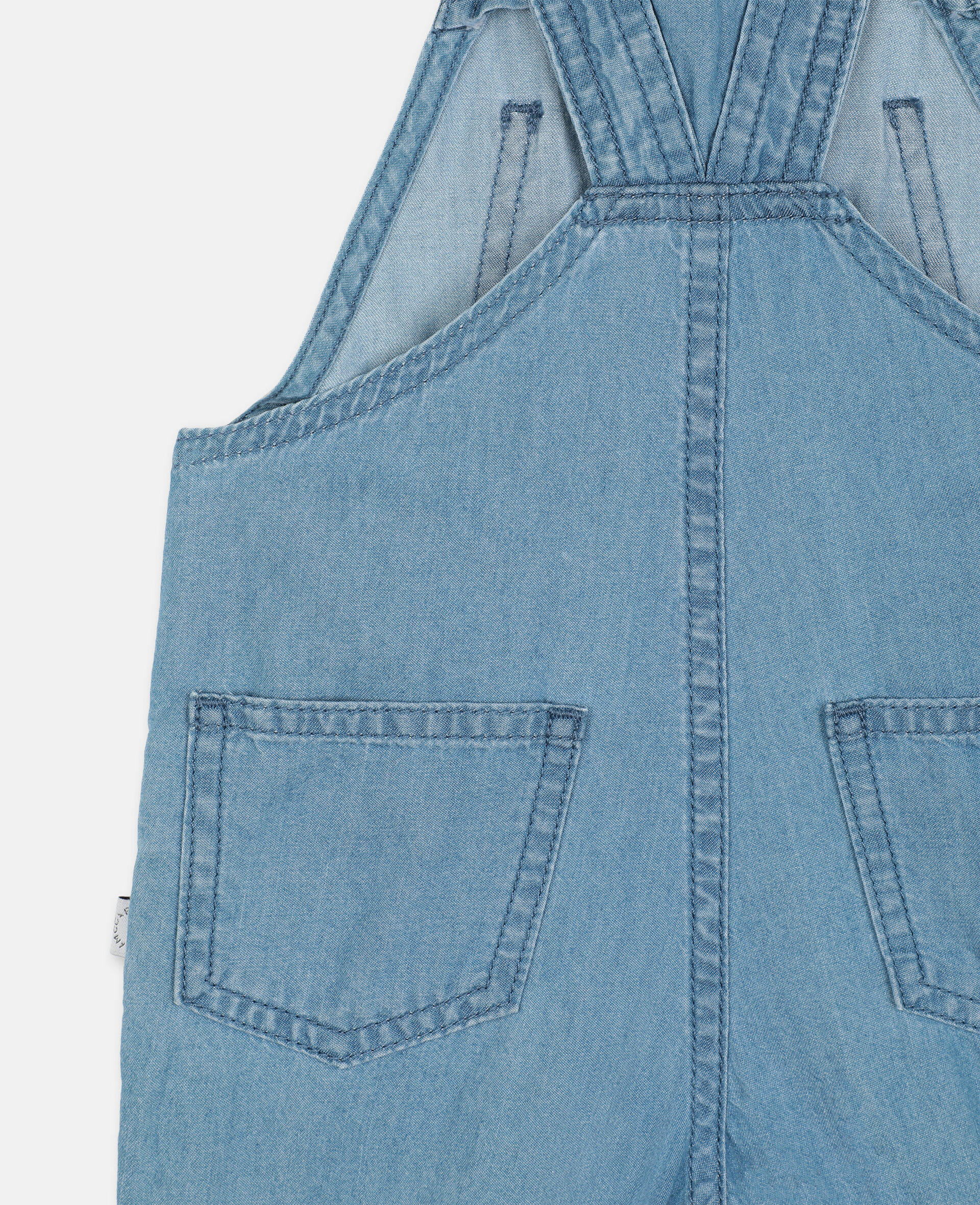 Embroidered Cats Cotton Chambray Dungarees-Blue-large image number 2