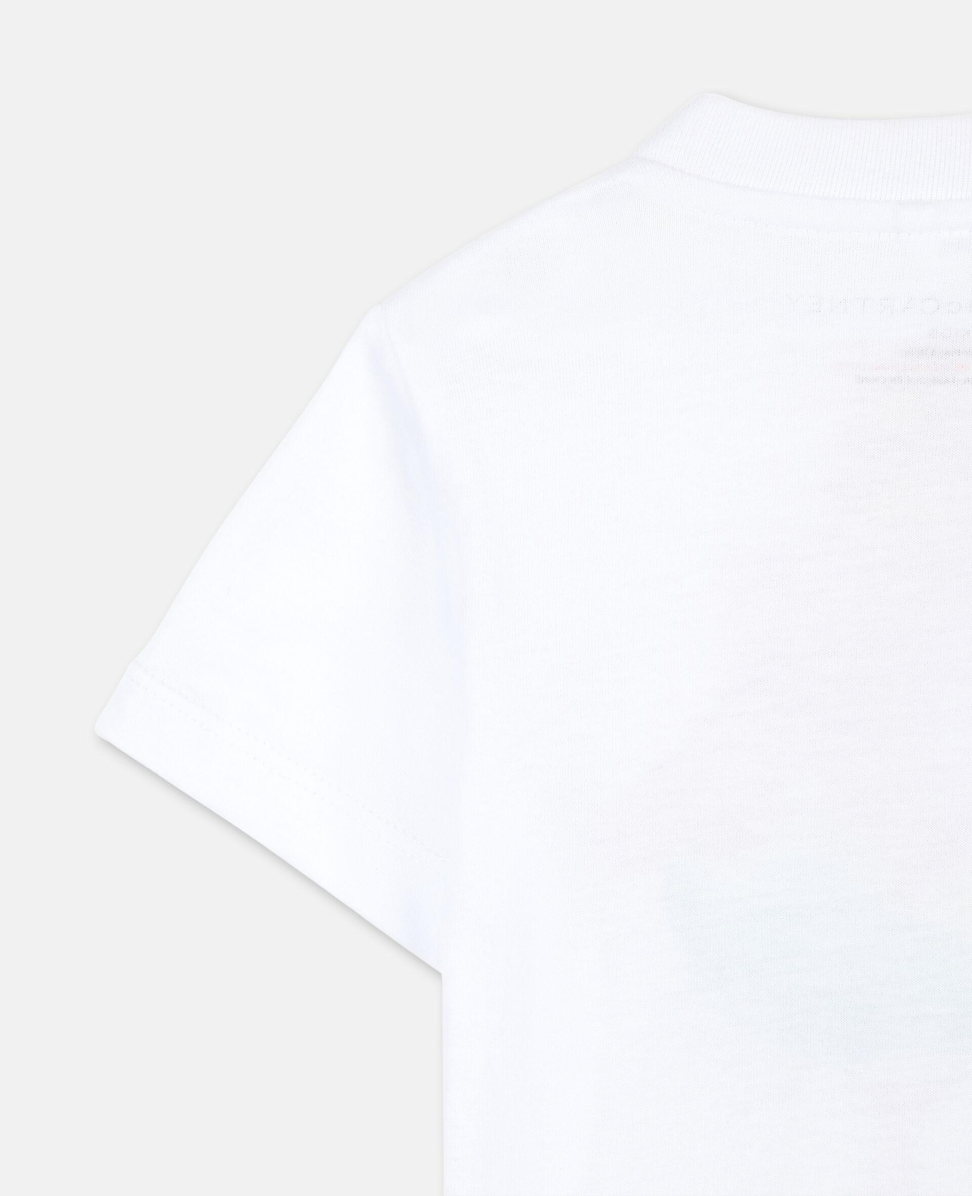 Trompe-L'Oeil Flamingo Cotton T-shirt -White-large image number 2