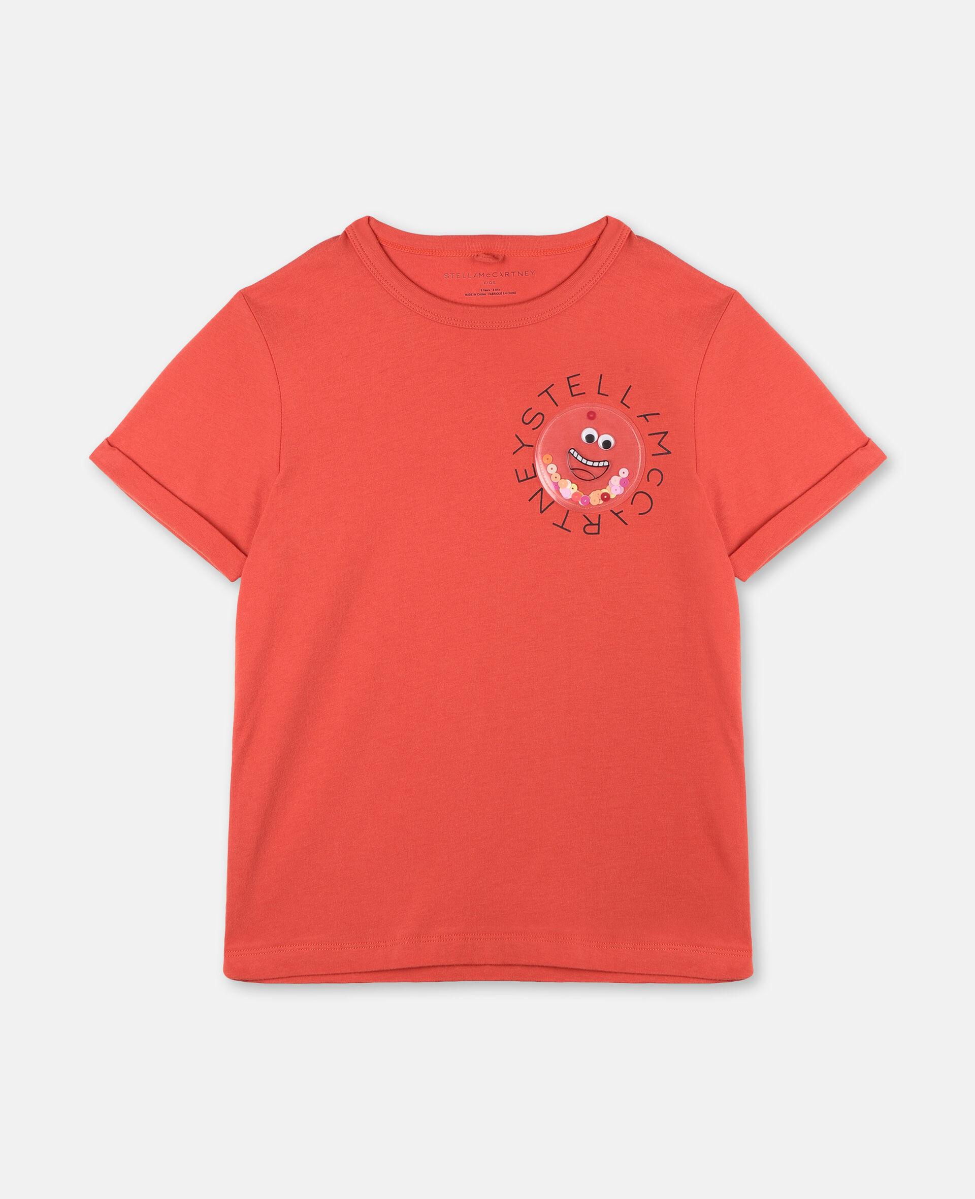 Baumwoll-T-Shirt mit Logo-Rot-large image number 0