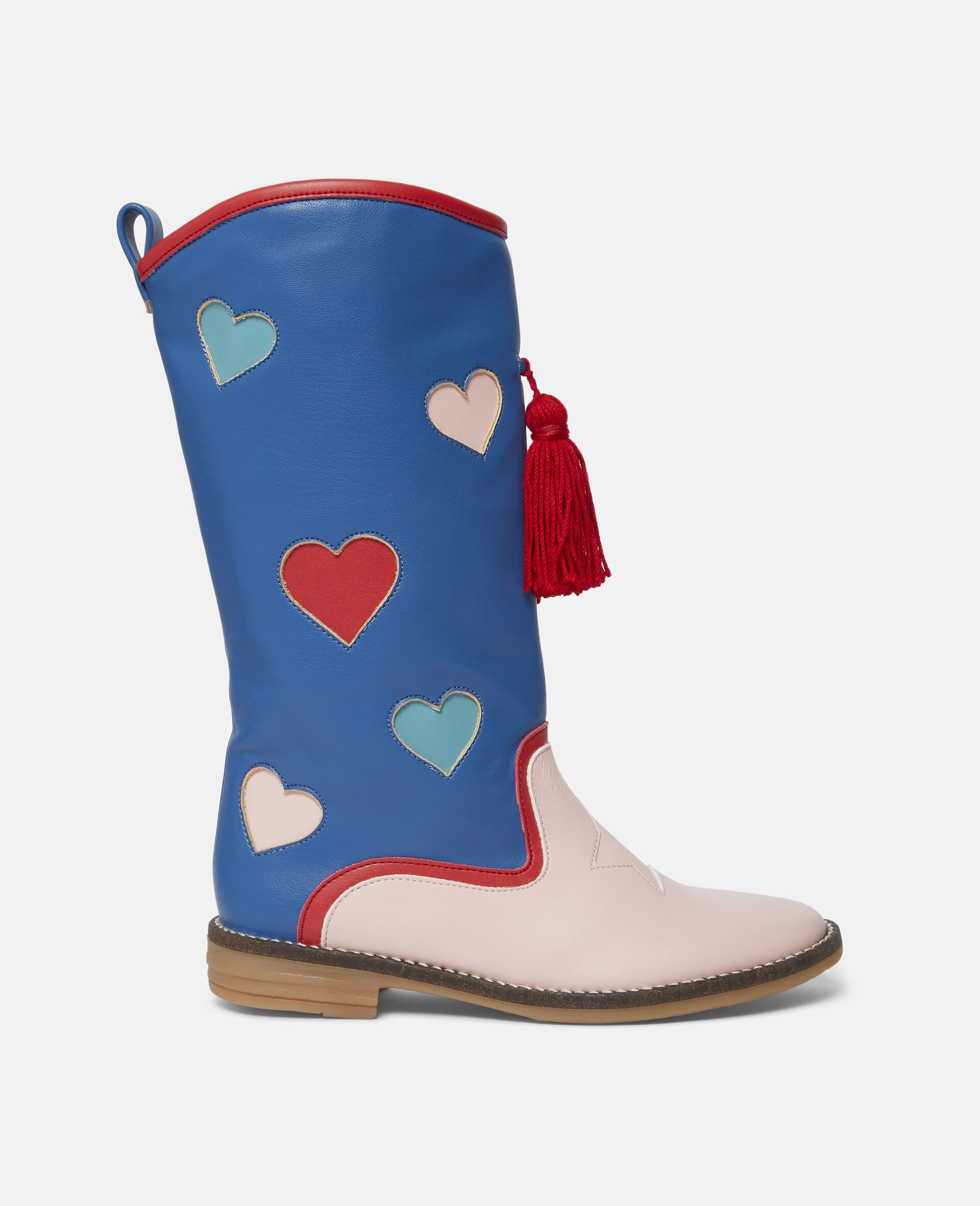 Hearts Tassels Boots-Blue-large image number 0