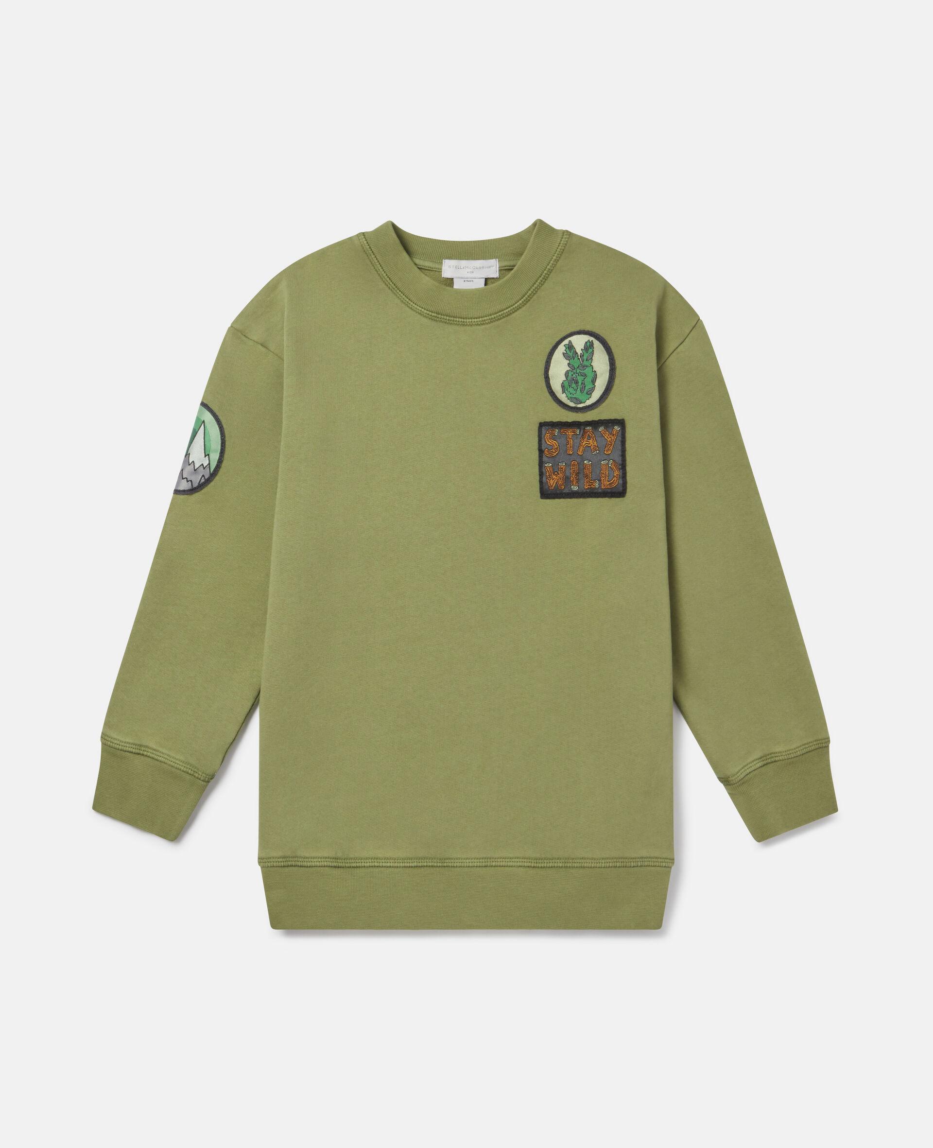 Übergroßes Berg-Sweatshirt aus Fleece-Grün-large image number 0