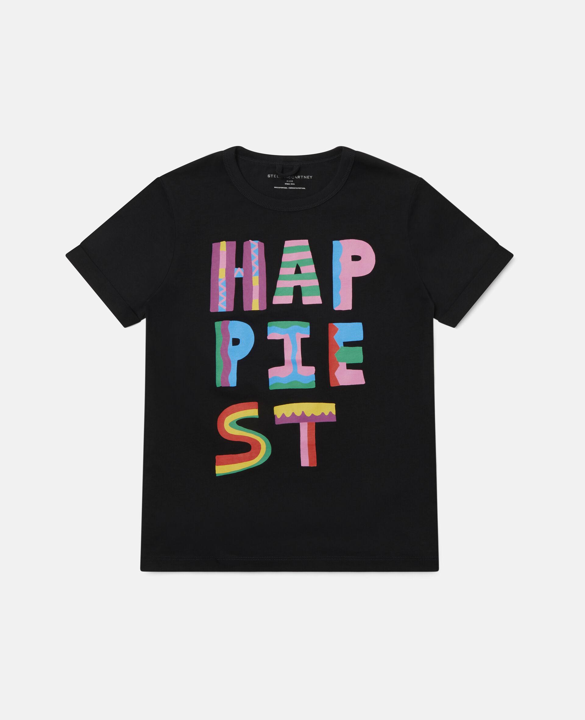 T-Shirt aus Baumwolle mit Happiest-Print-Schwarz-large image number 0