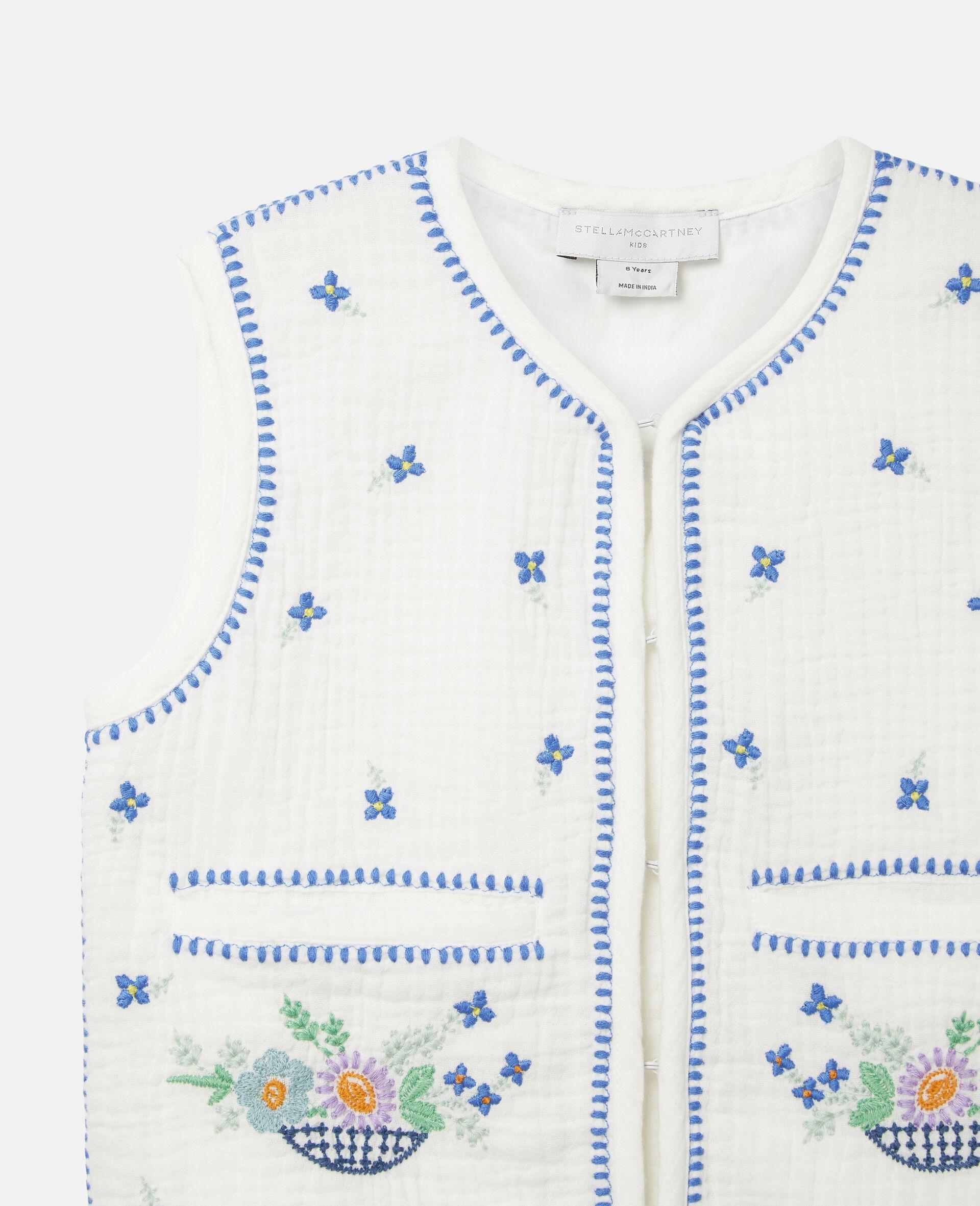 Gilet sans manches en coton à fleurs brodées-Blanc-large image number 2