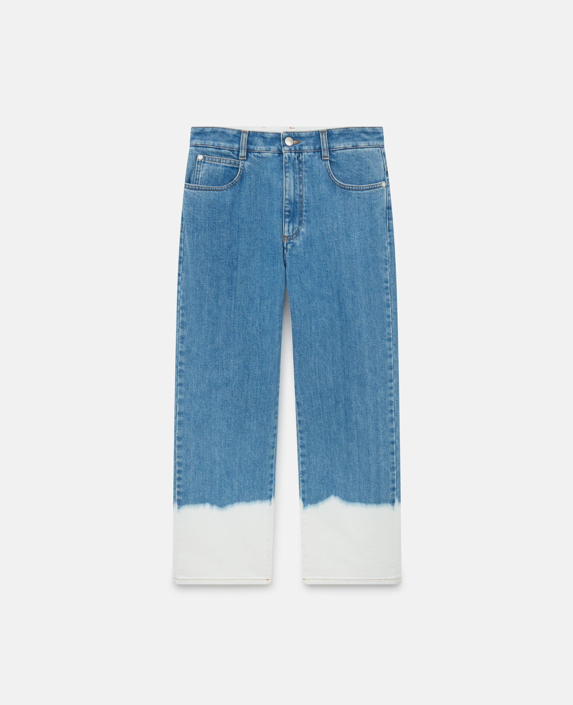 浸染褪色牛仔裤 -蓝色-large image number 0