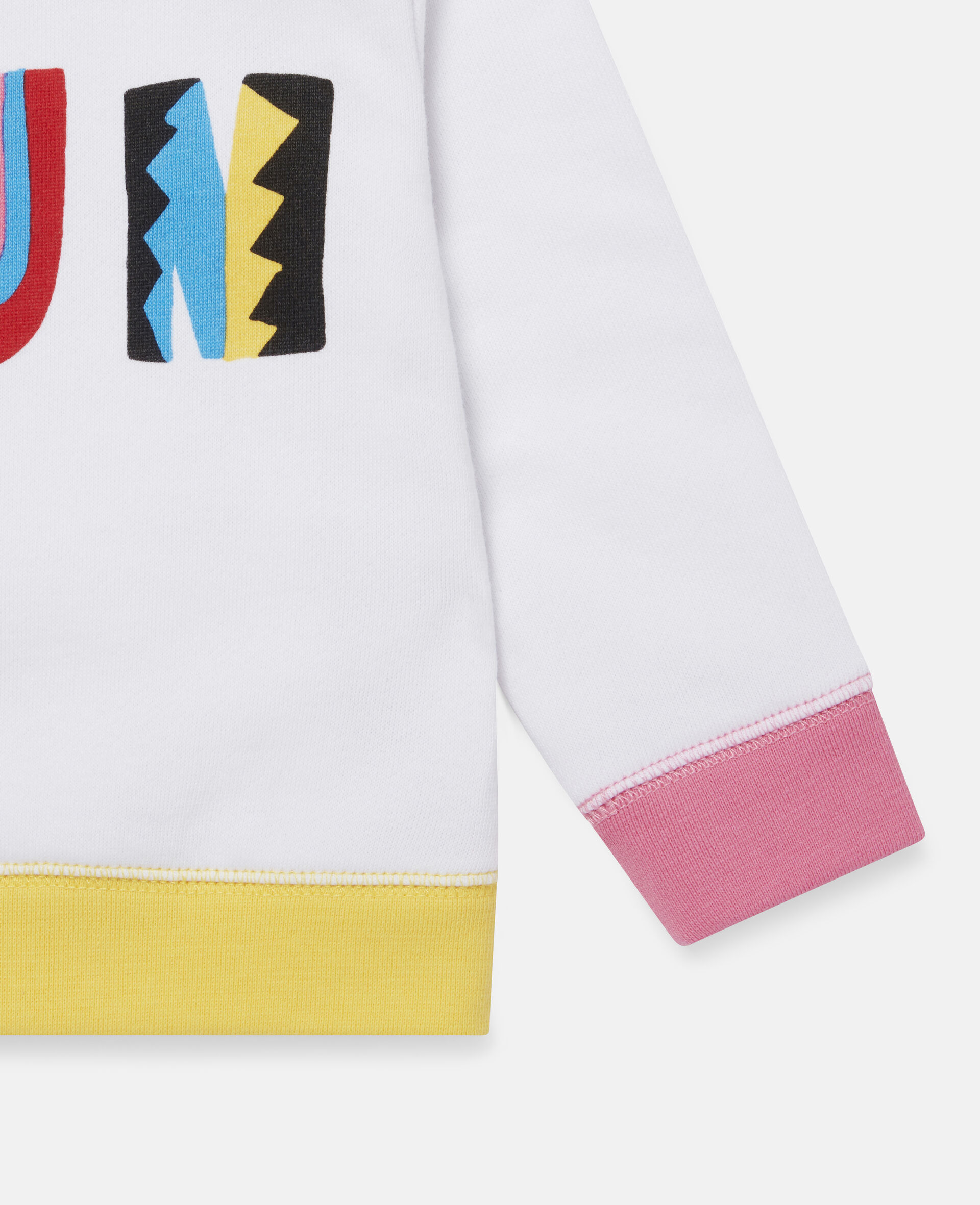 Fröhliches blockfarbenes Fleece-Swat-Shirt-Weiß-large image number 2