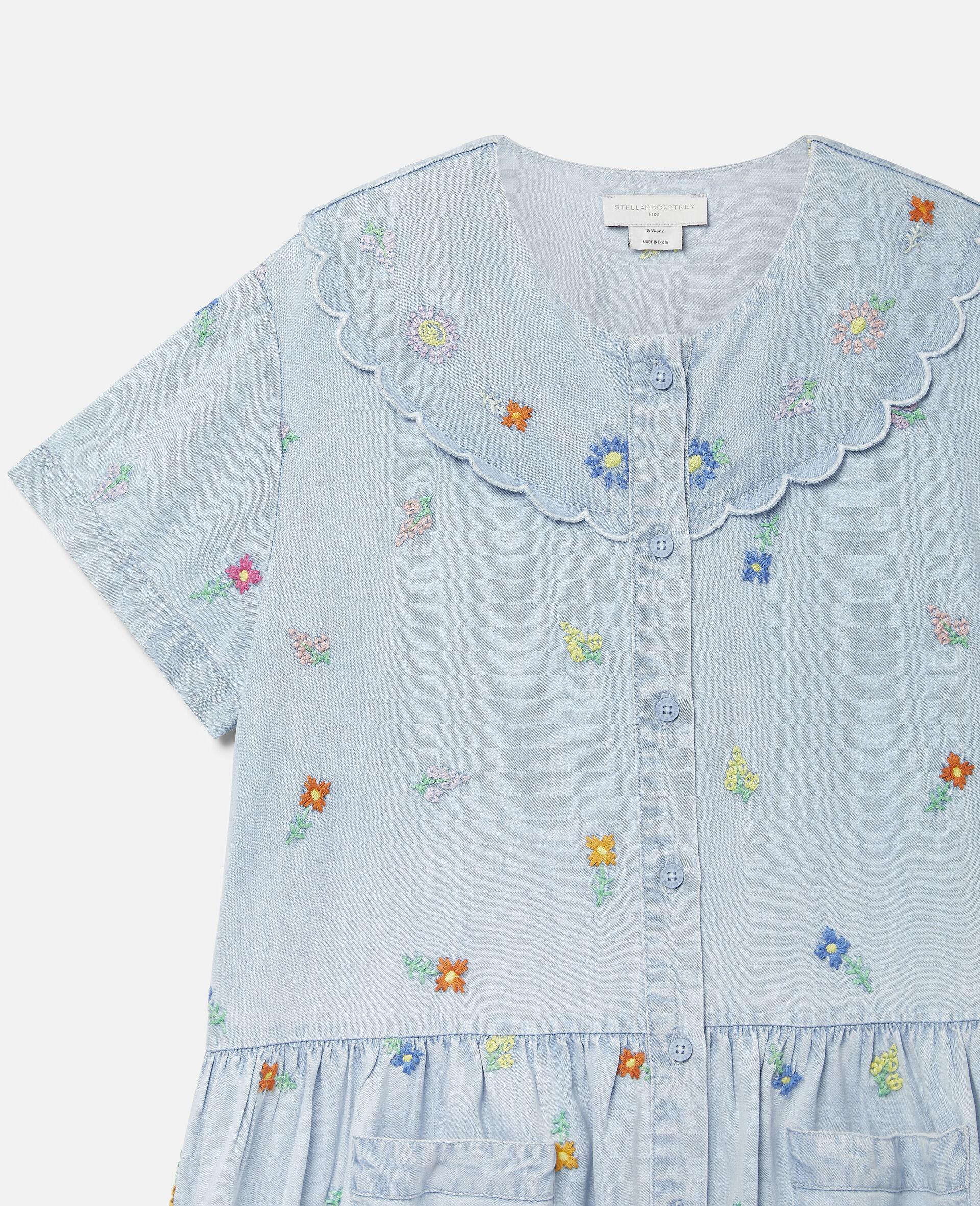 Embroidered Flowers Denim Dress-Blue-large image number 2