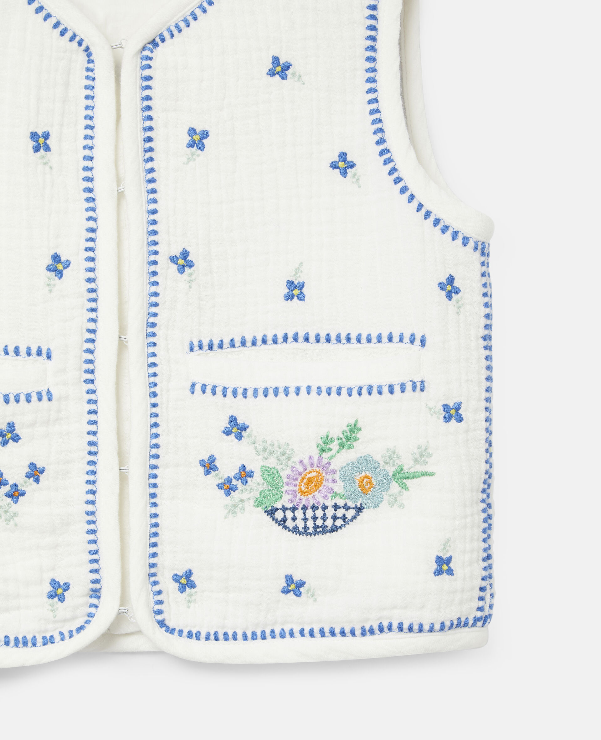 Embroidered Flowers Cotton Gilet-White-large image number 1