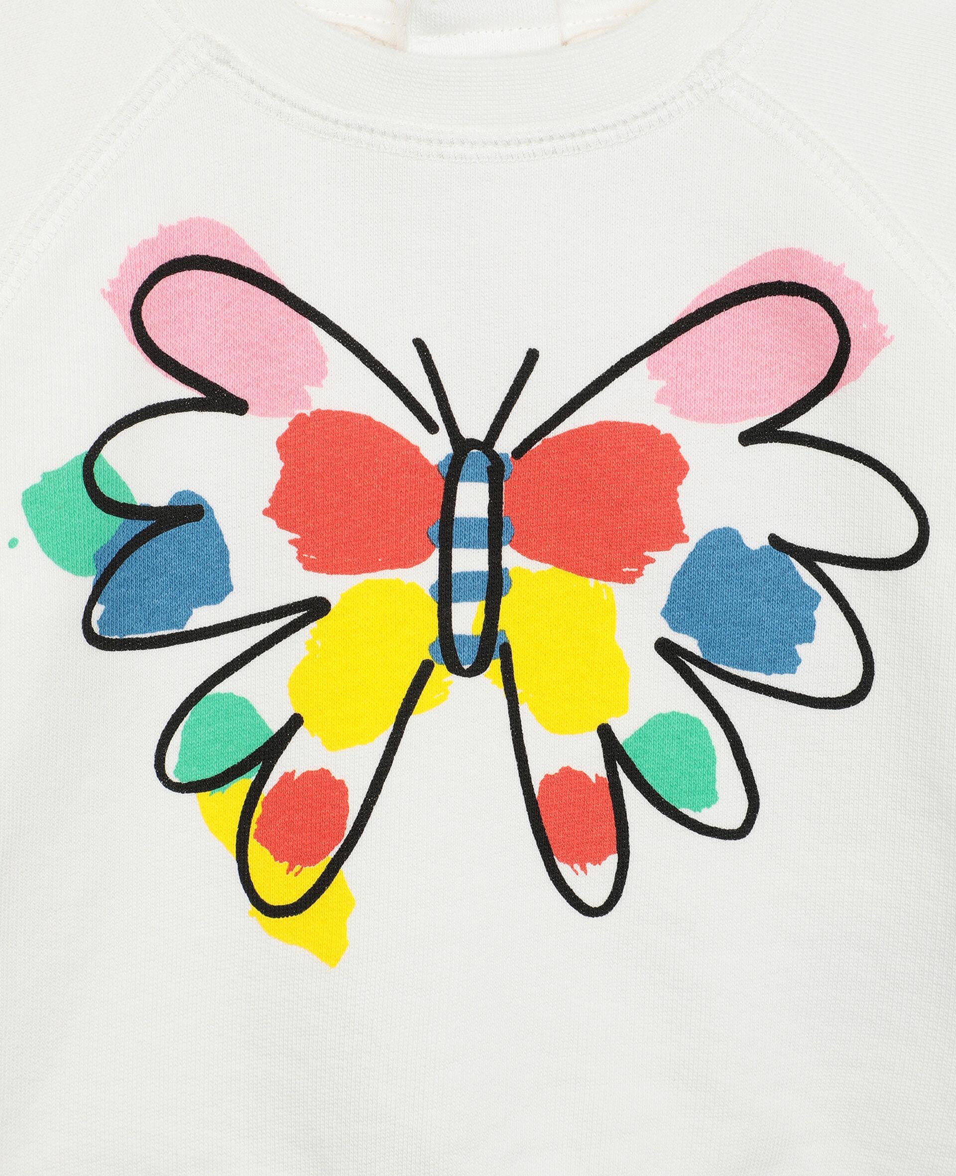 Sweatshirt aus Fleece mit Schmetterling-Print-Weiß-large image number 1