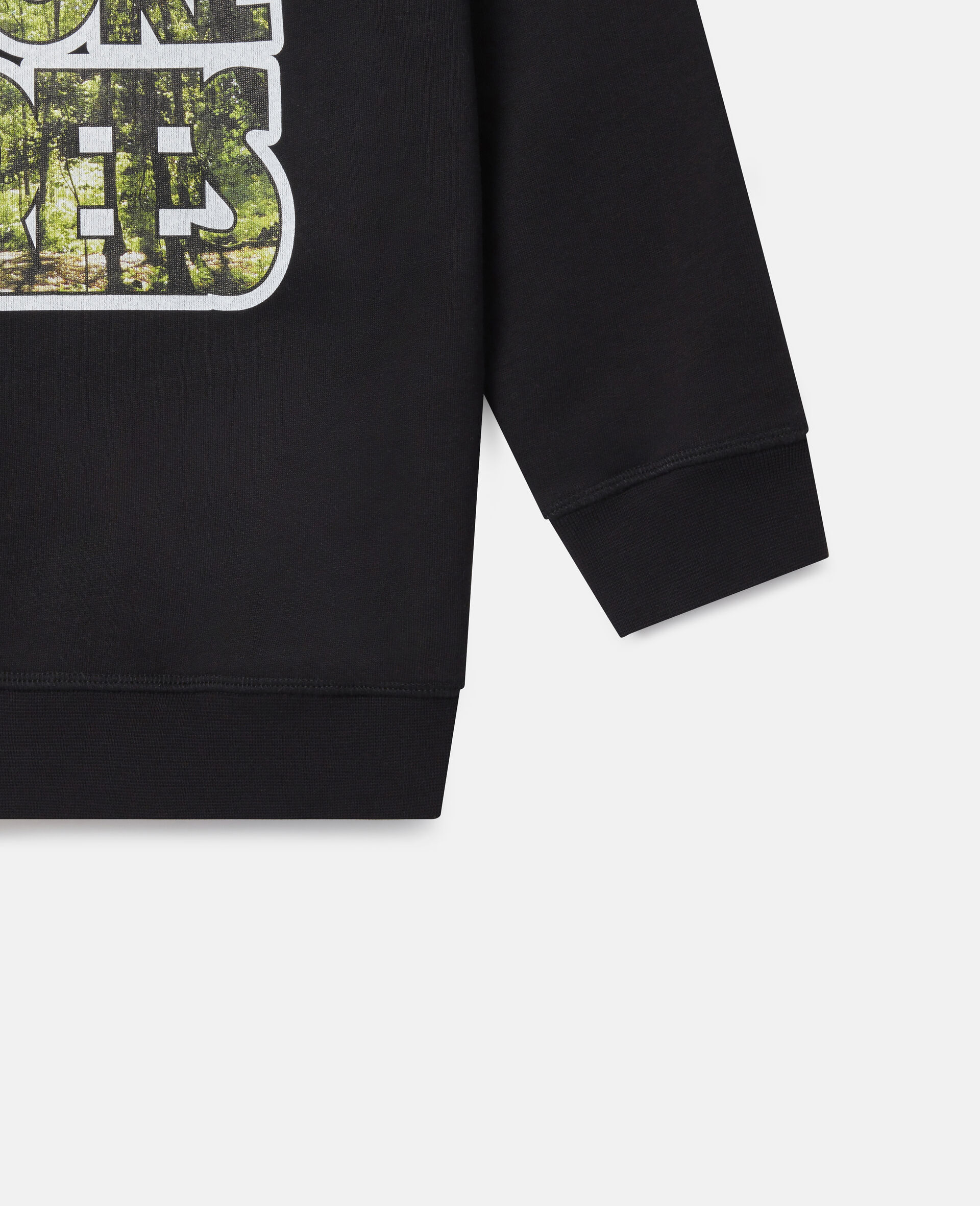 Oversized 'Plant More Trees' Fleece Sweatshirt-Black-large image number 2