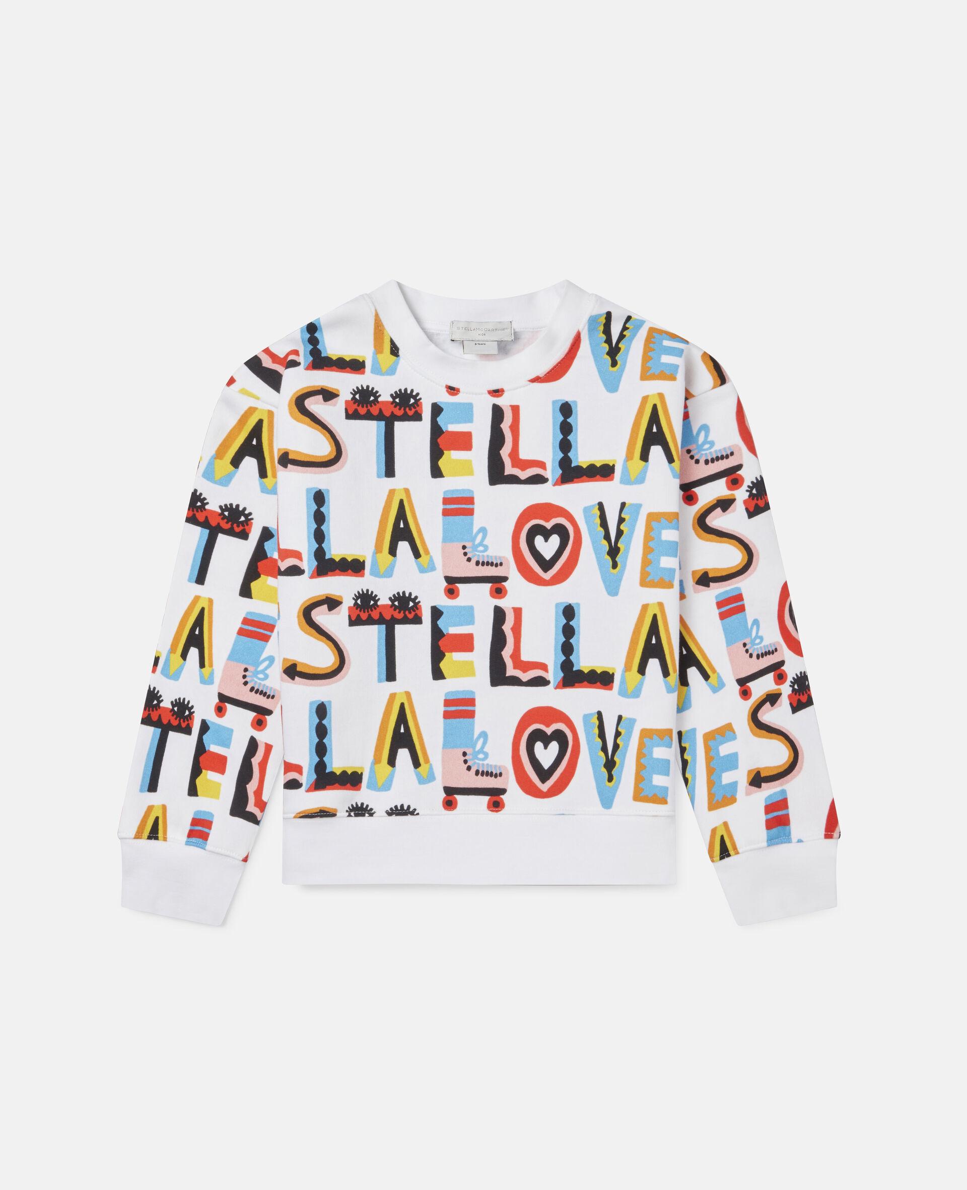 Übergroßes Sweatshirt aus Fleece mit Stella Loves-Print-Weiß-large image number 0