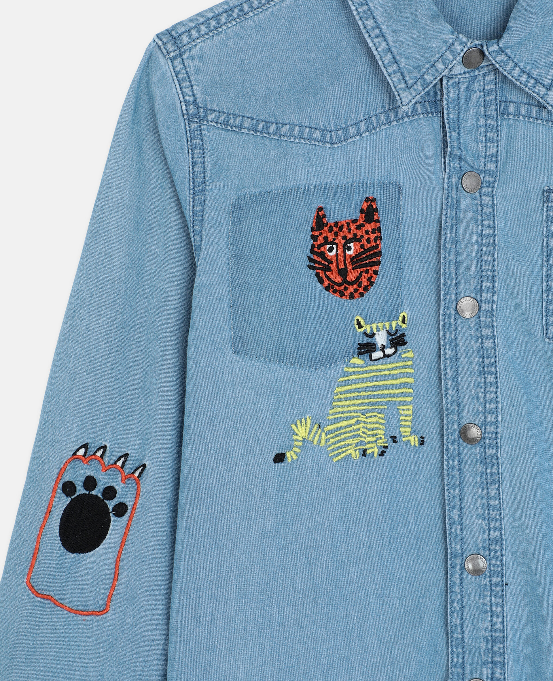 Embroidered Cats Cotton Chambray Shirt -Blue-large image number 1
