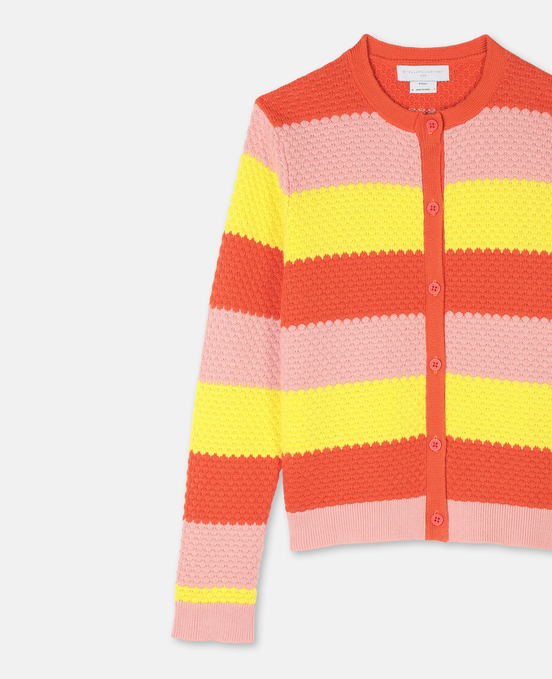 Bubble Knit Cotton Cardigan -Red-large image number 1