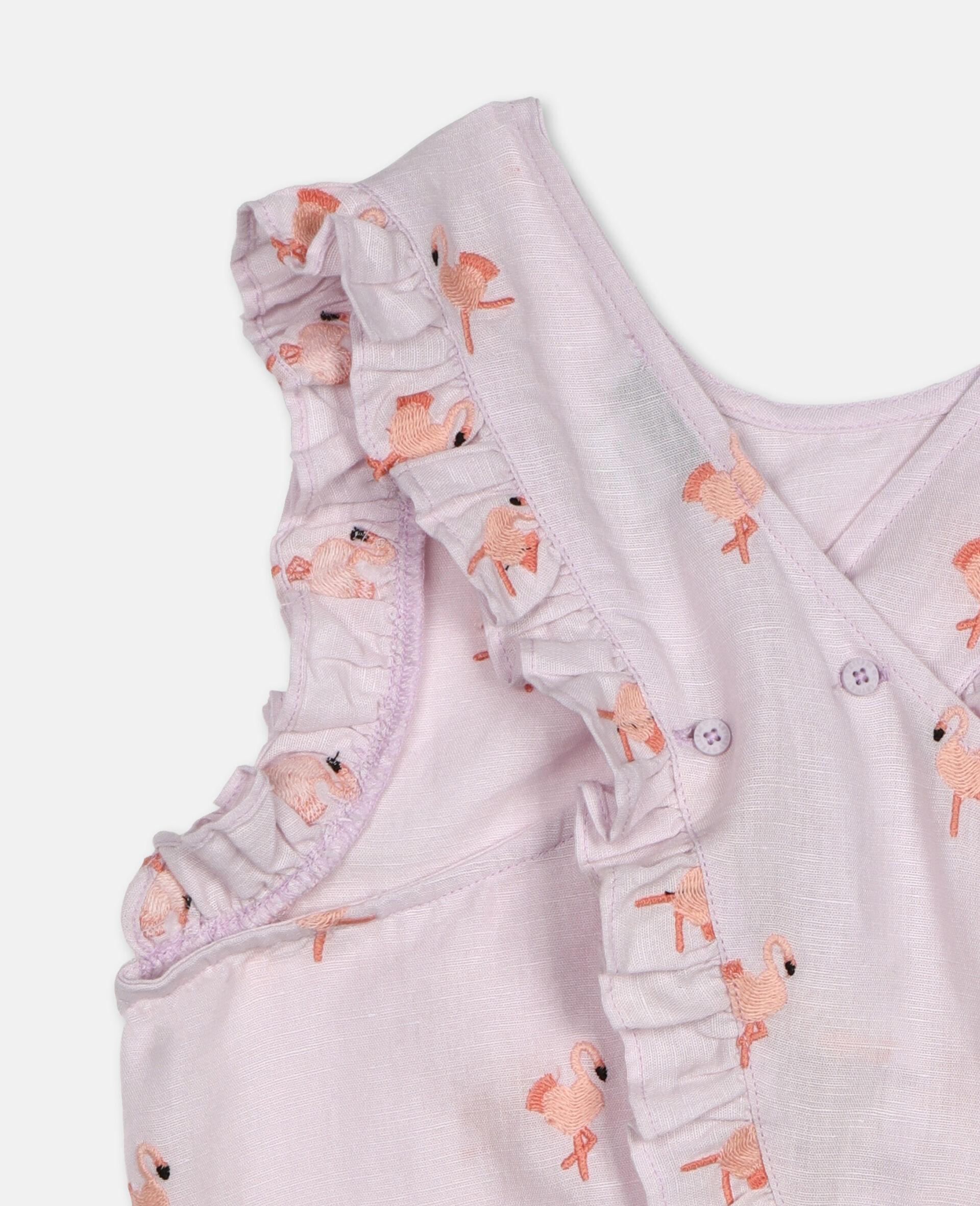 Flamingo刺绣上衣 -粉色-large image number 1