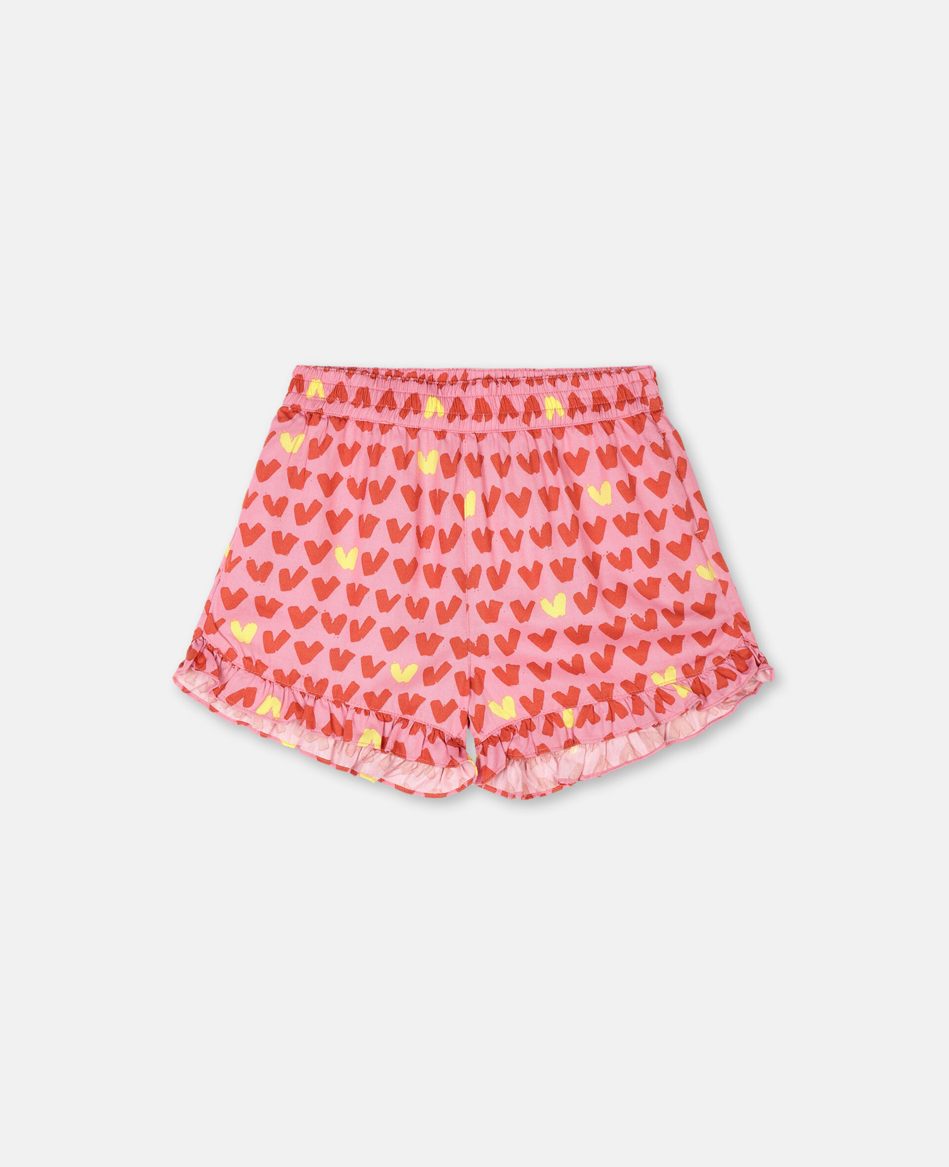Hearts Viscose Twill Shorts -Pink-large image number 0
