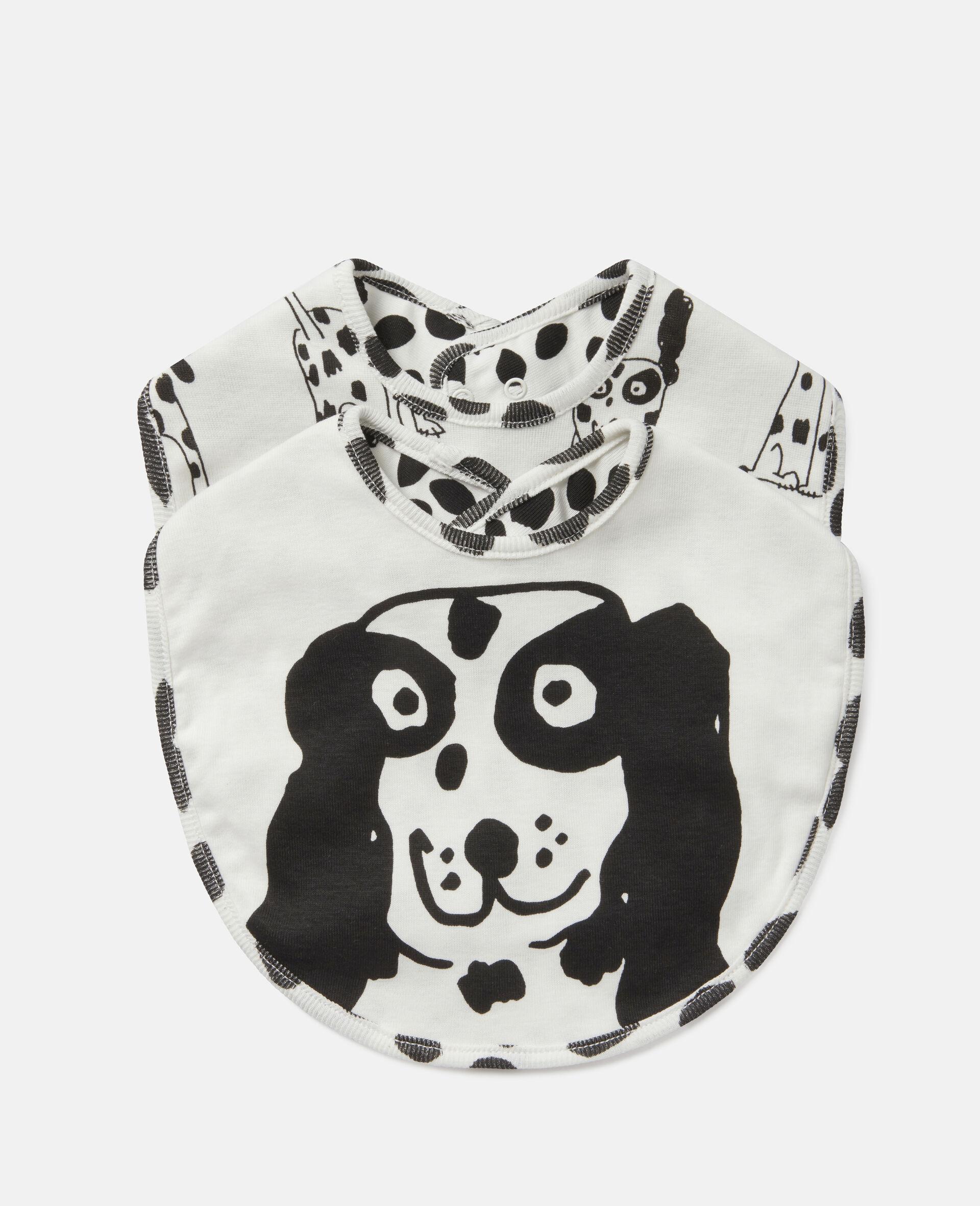 Lätzchen-Set aus geripptem Jersey mit Dalmatiner-Motiv-Weiß-large image number 0